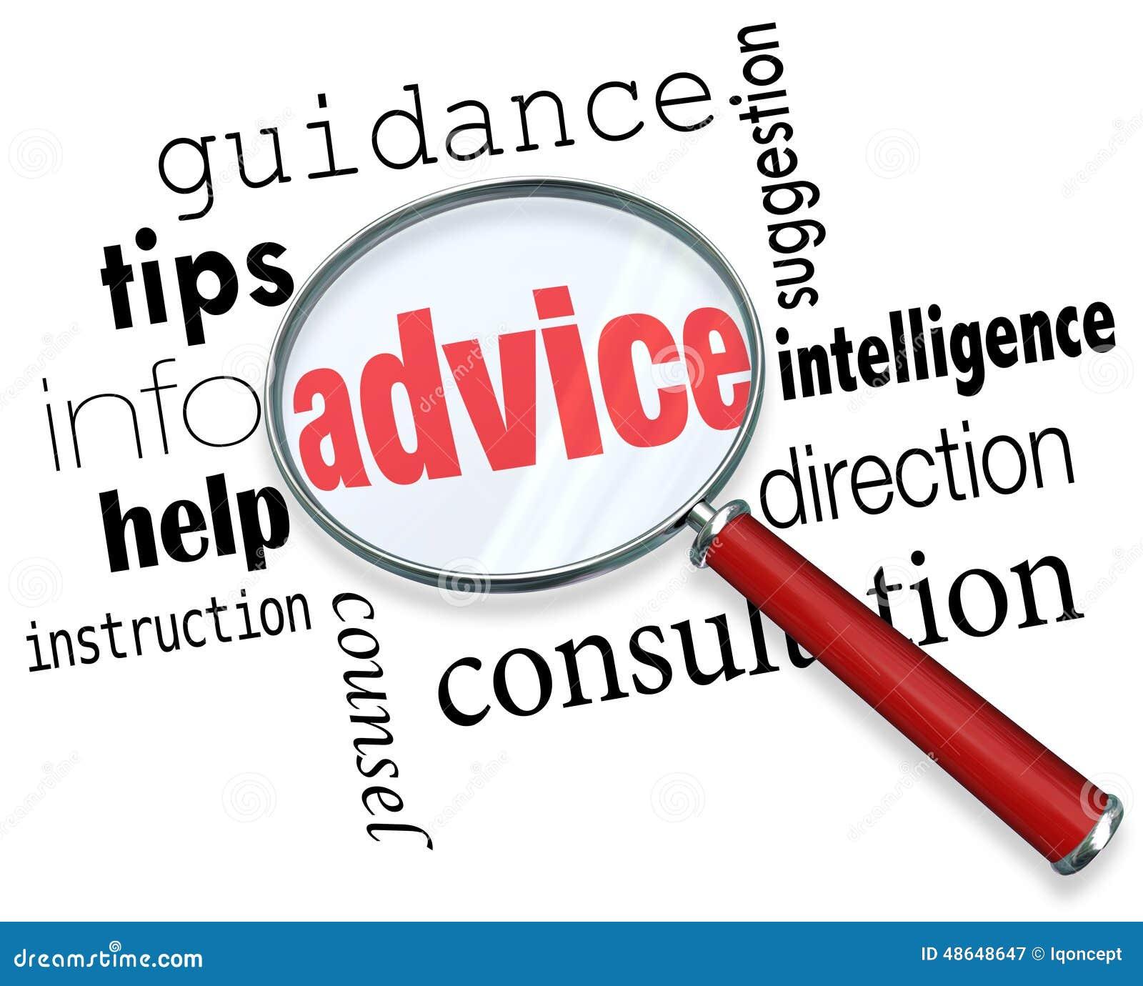Sup för information om hjälp för spetsar för vägledning för rådgivningförstoringsglasord