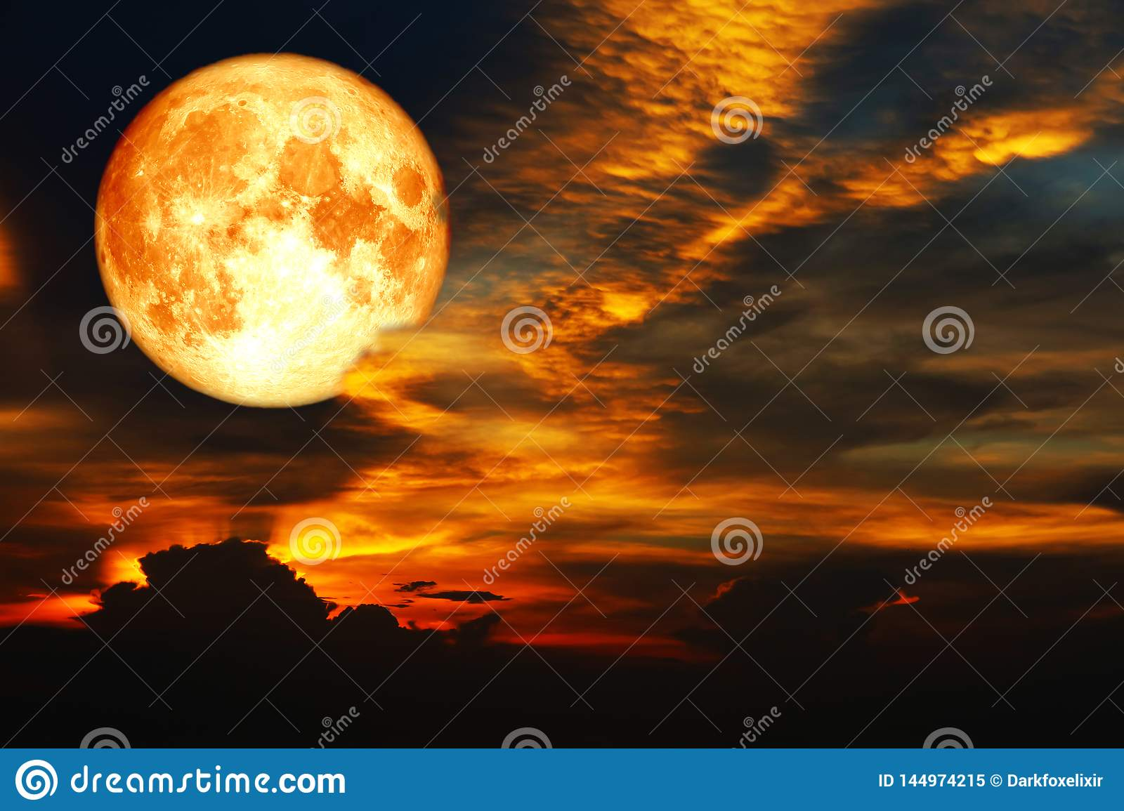 super blood moon on colorful cloud rainbow on night sky