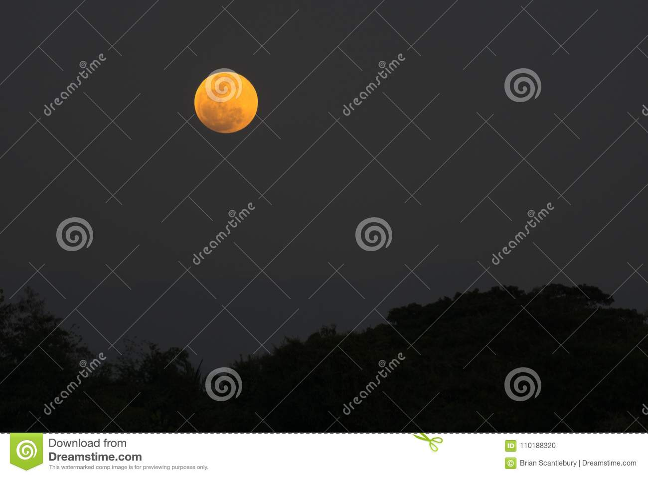 Super Blue Moon In Sky Over Thailand  Stock Photo - Image of image