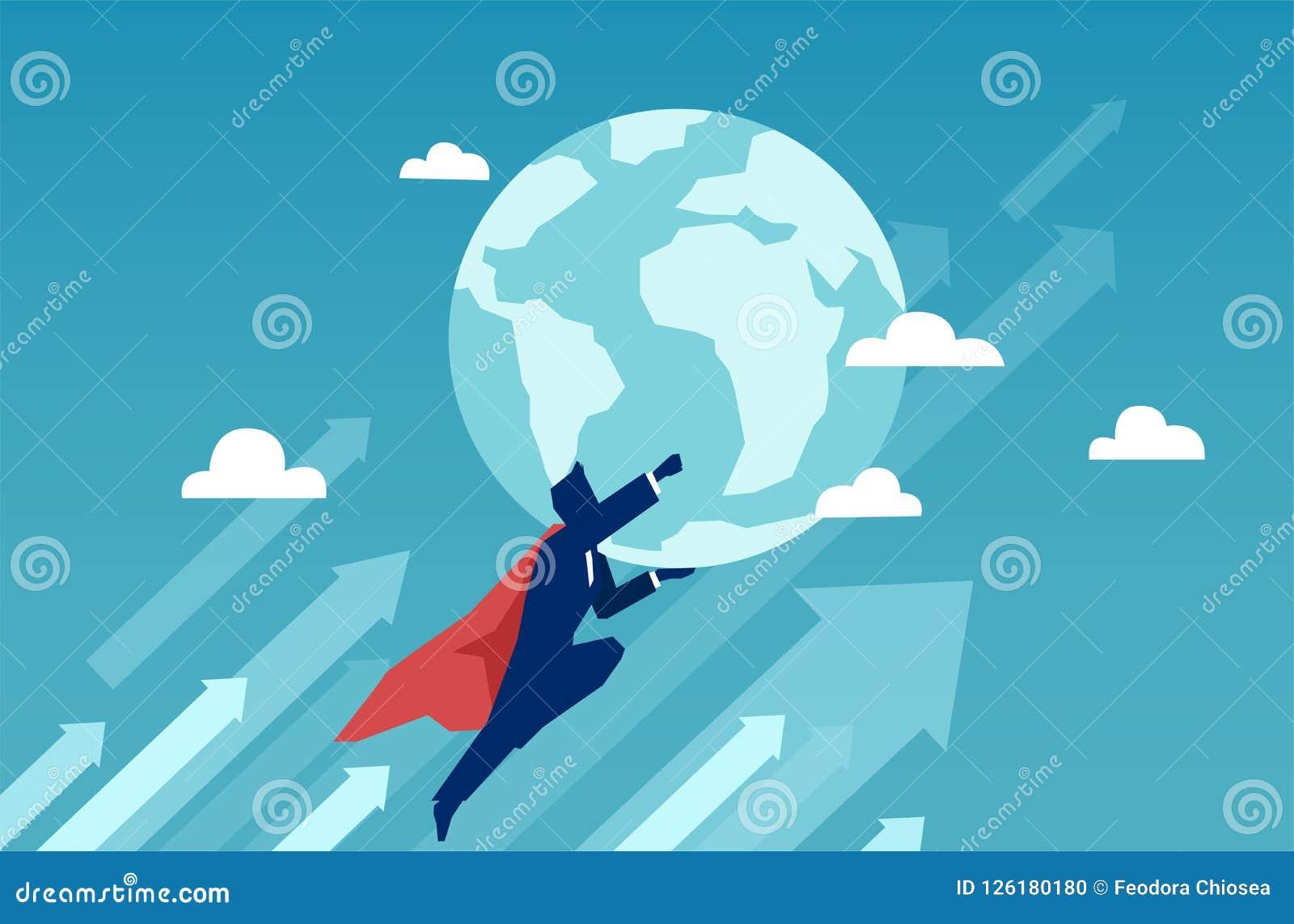 Super bohatera biznesmena mienia i latania ziemia