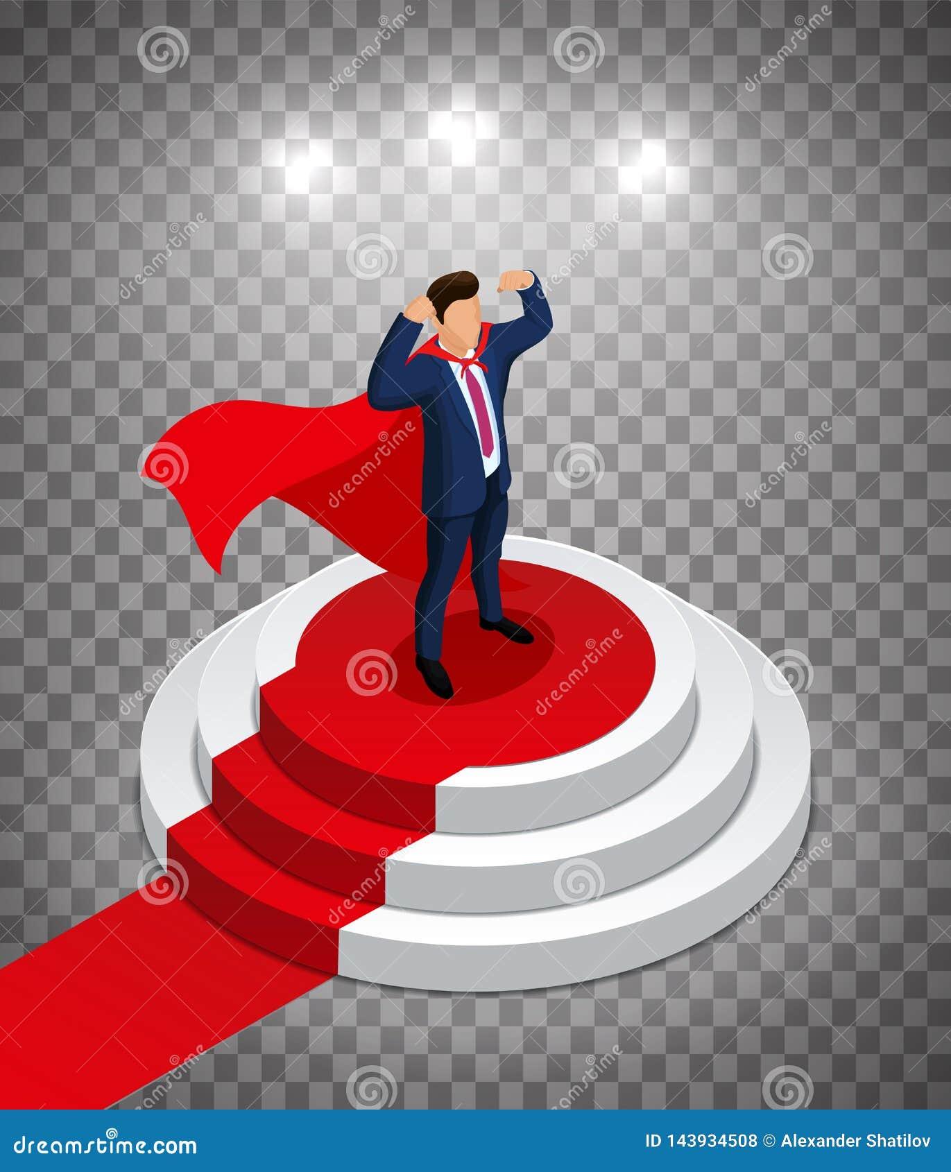 Super bohatera biznesmena stojaki na round podium z czerwonym chodnikiem Nagradza? ceremoni? Ilustracja Wektorowa Ilustracja