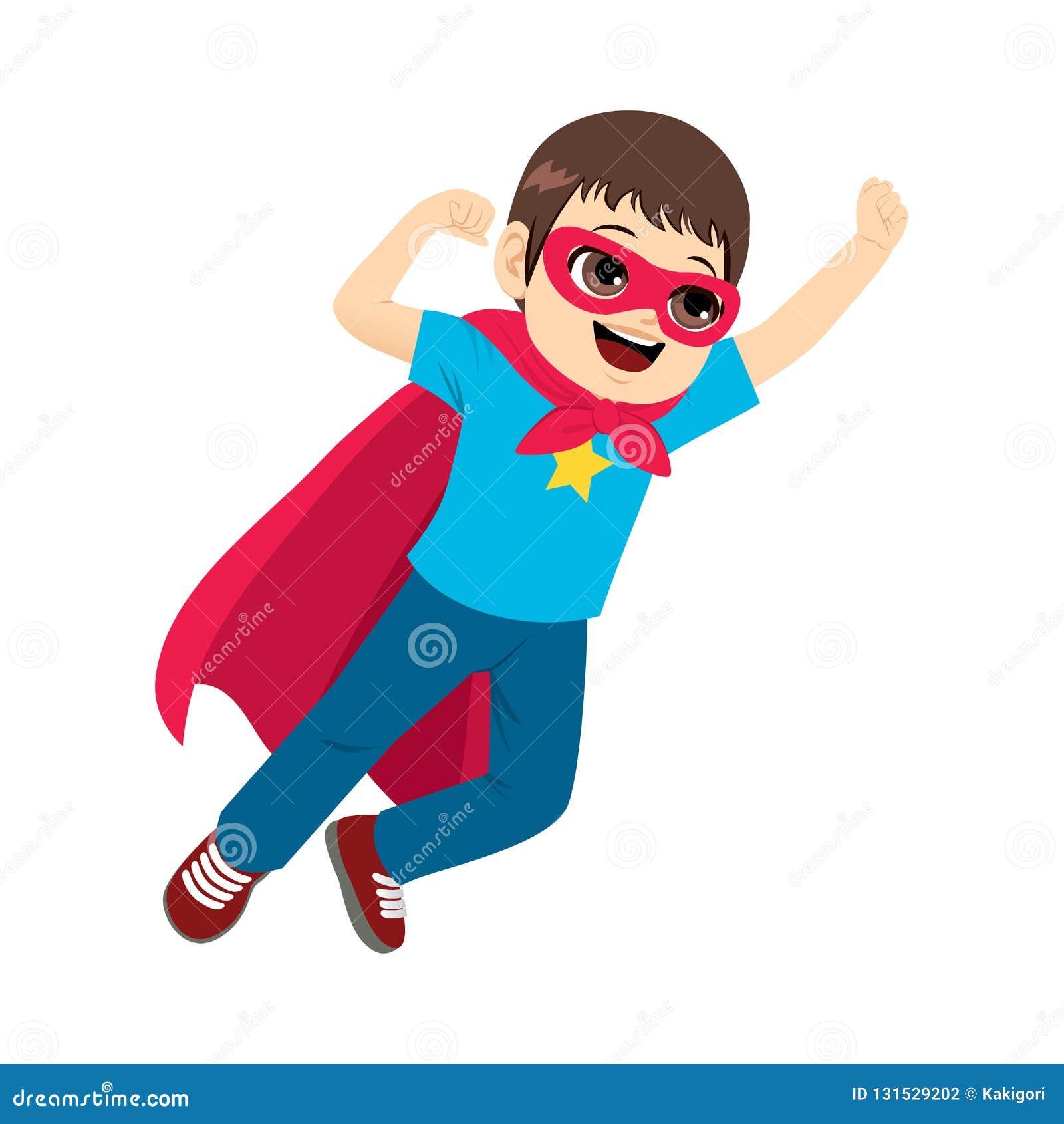 Super bohatera chłopiec latanie