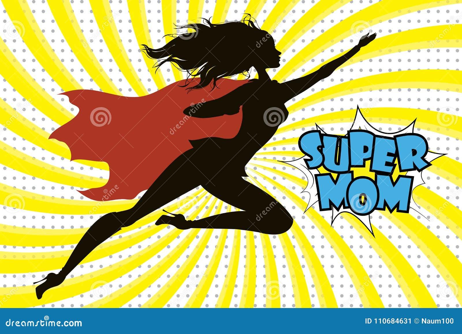 Super bohatera mamuś tekst w retro komiczce i sylwetka projektujemy