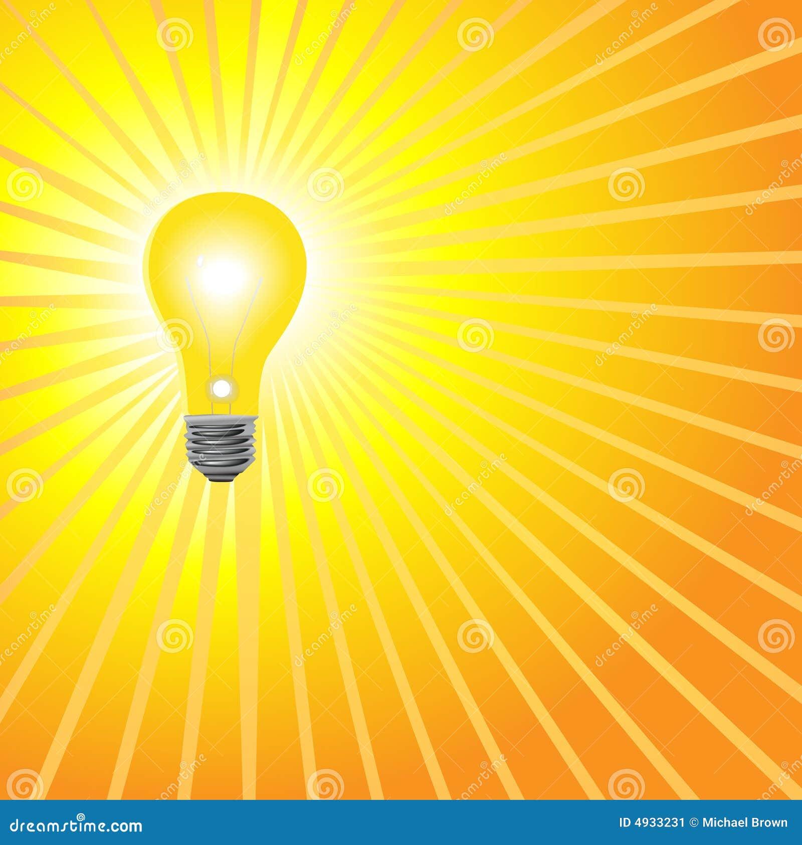 Download Super Bright Yellow Light Bulb Shines Stock Vector