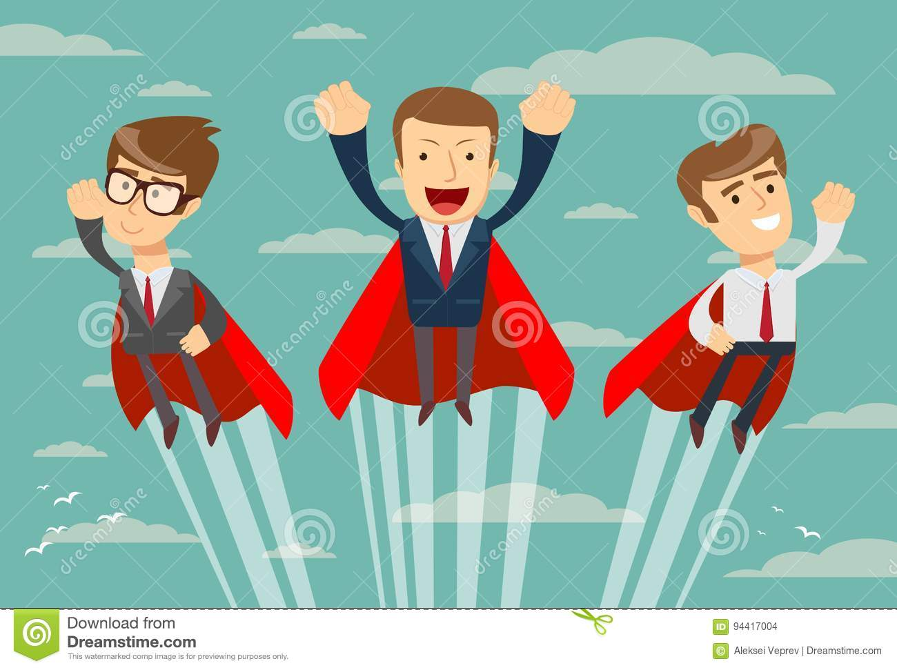 Super business team in red capes flying upwards to their success
