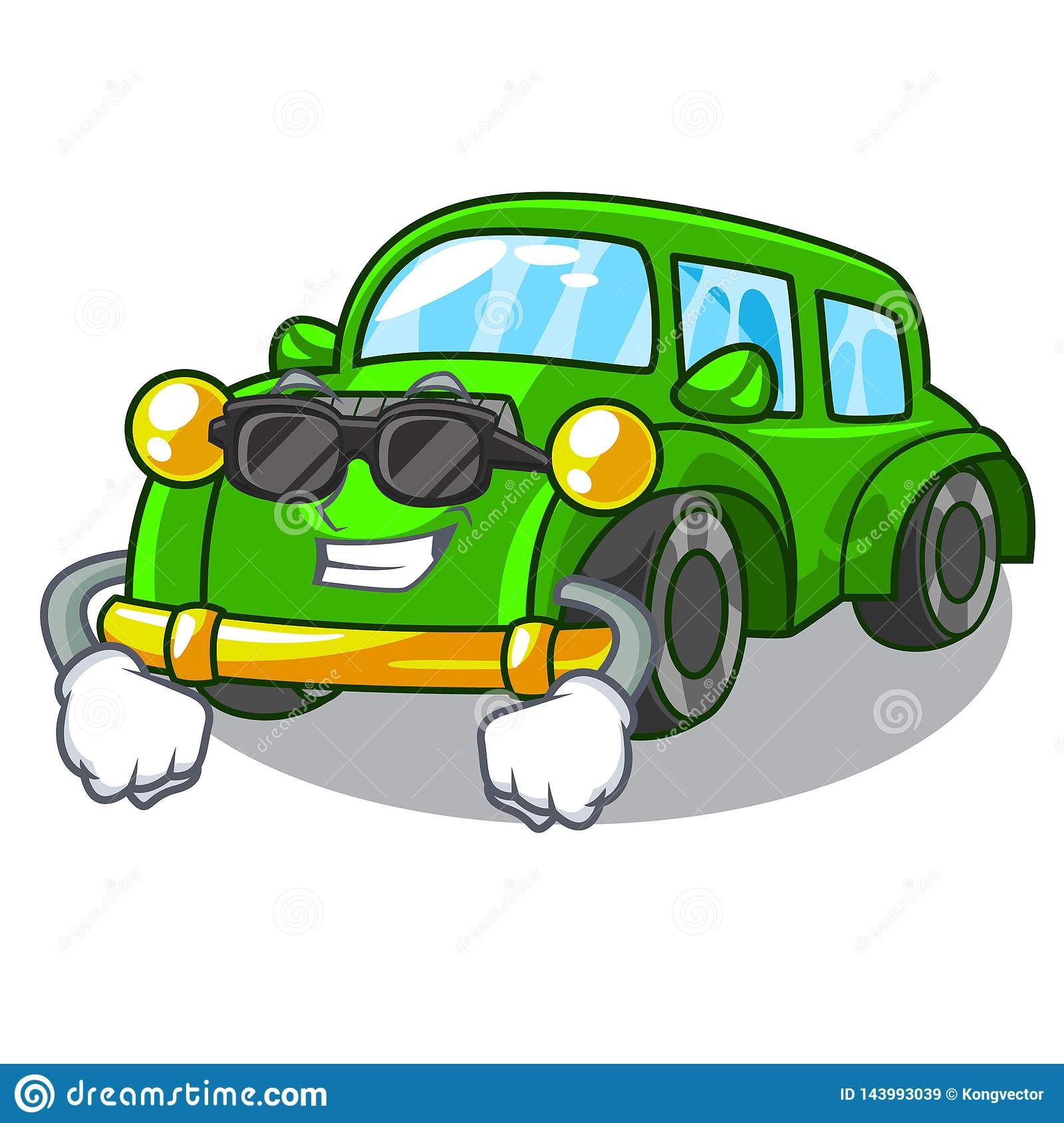 Super Cool Miniature Classic Car In Shape Characters Stock Vector Illustration Of Happy Cars 143993039