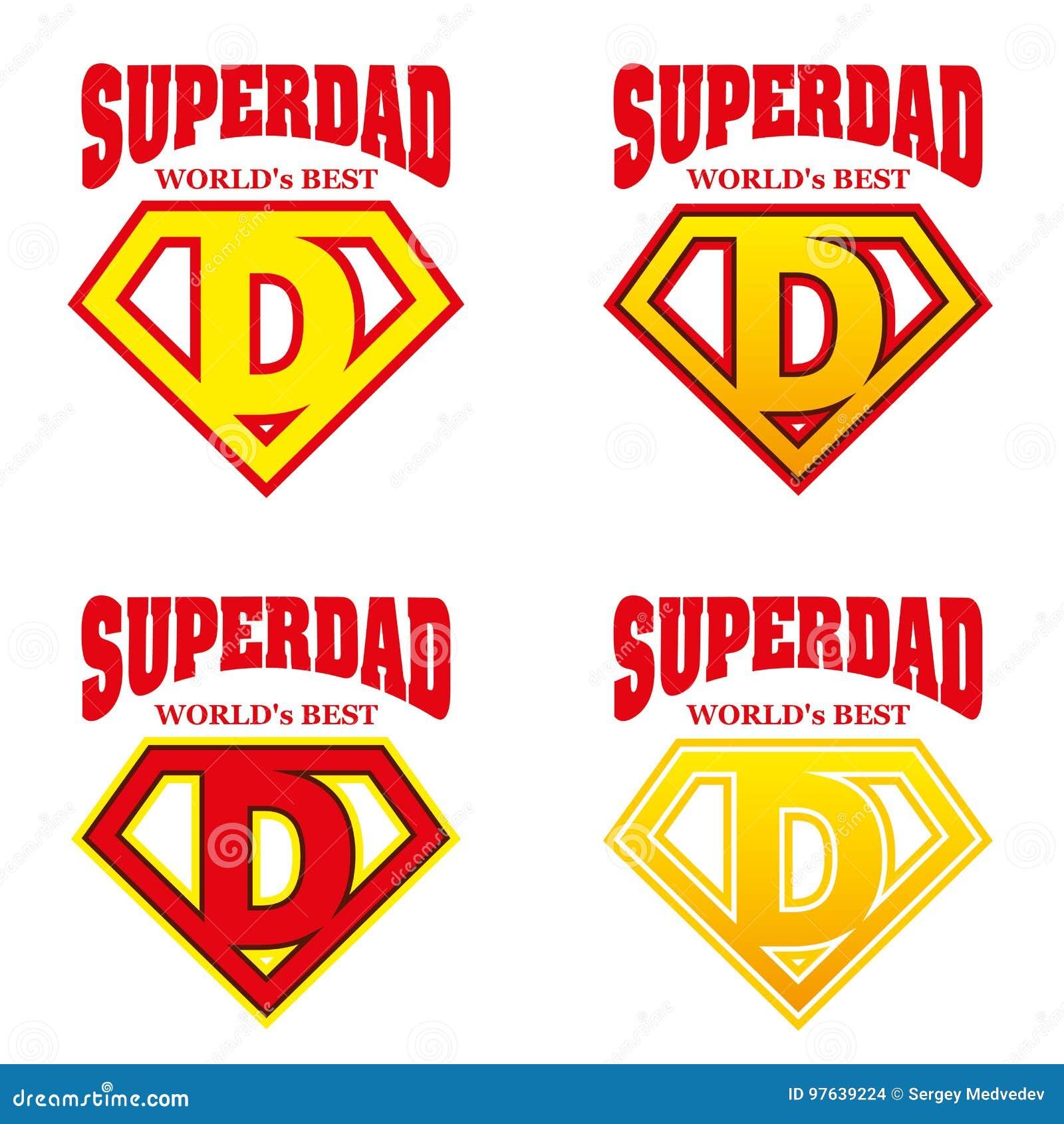 Super Dad Hero Logo Supehero Letters Stock Vector Illustration Of