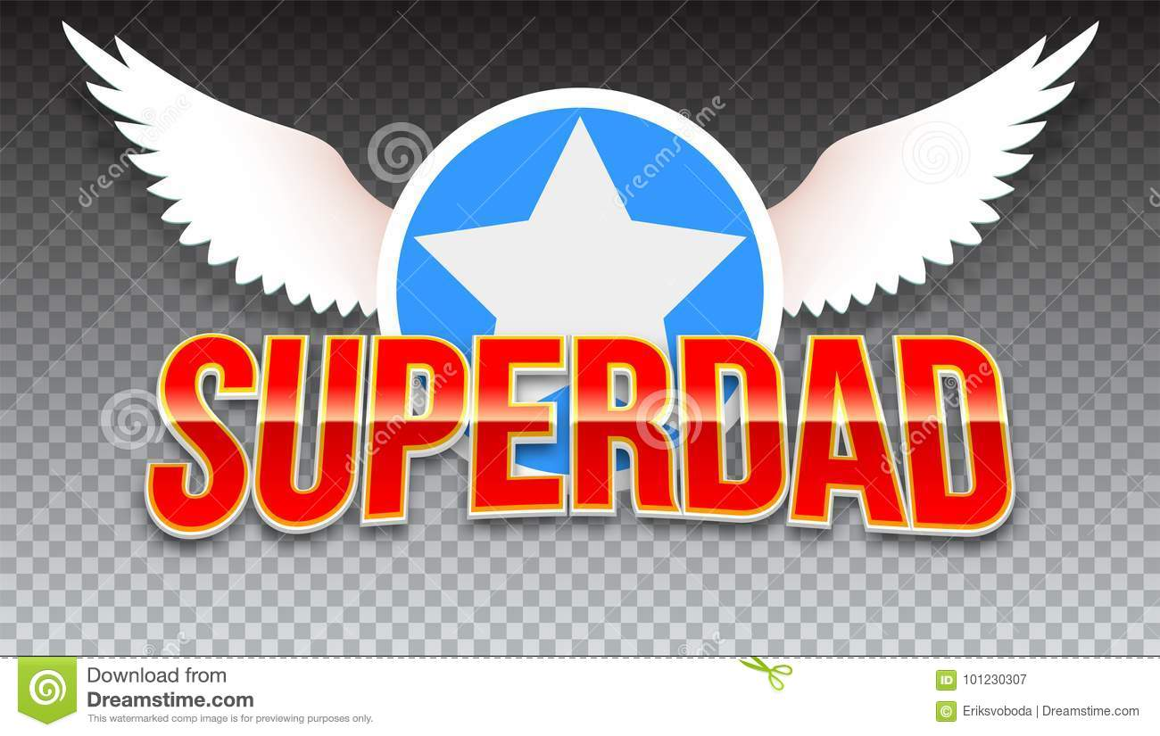 Super Dad, Red Shiny Text On Horizontal Transparent