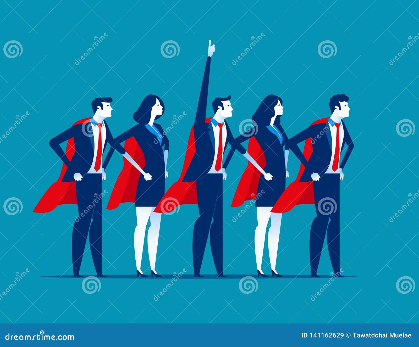 Super drużyna biznes Charakteru super lider Pojęcie biznesowa wektorowa ilustracja