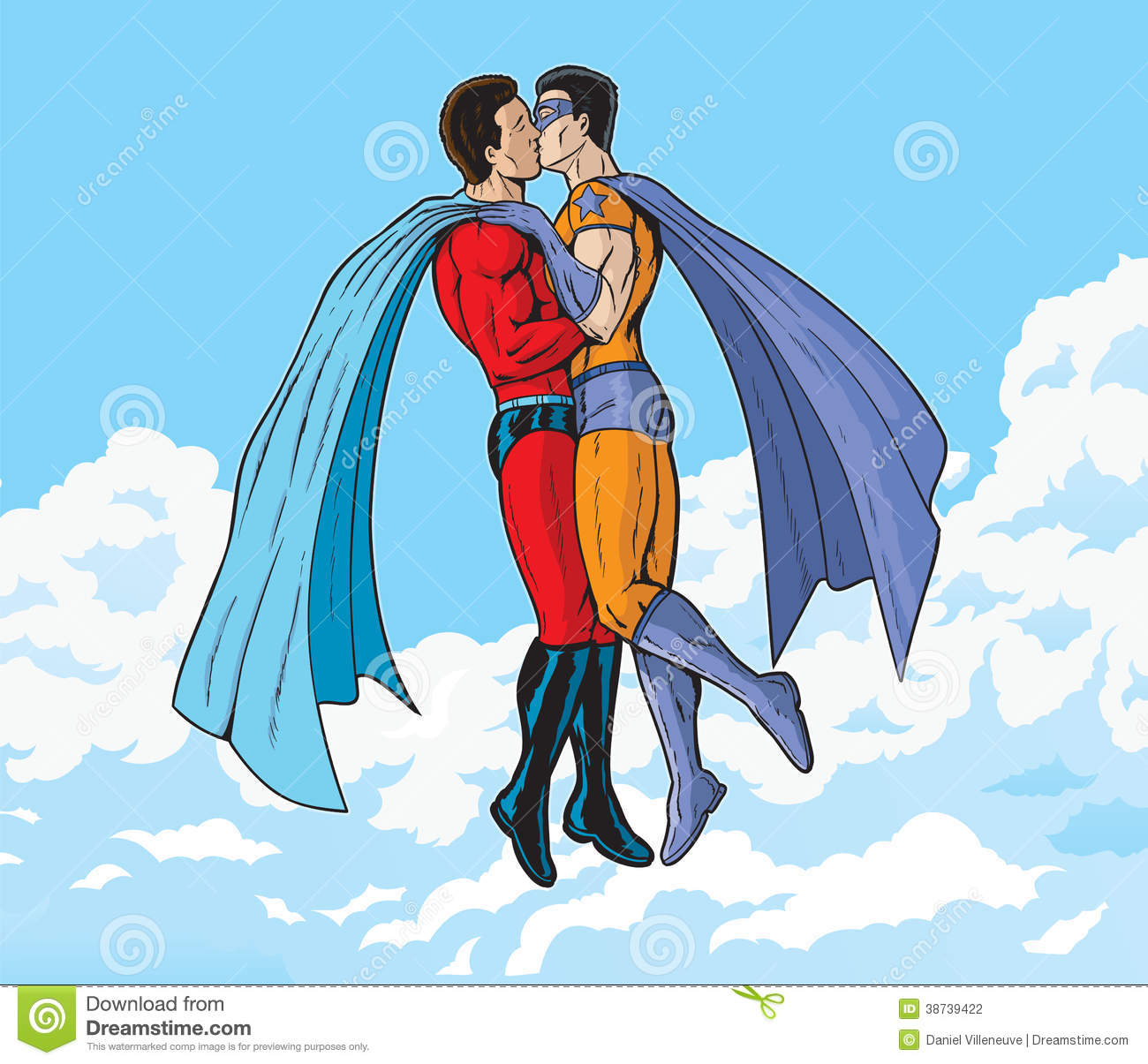 Cartoon Characters Kissing : Super duper kiss stock illustration image of hovering