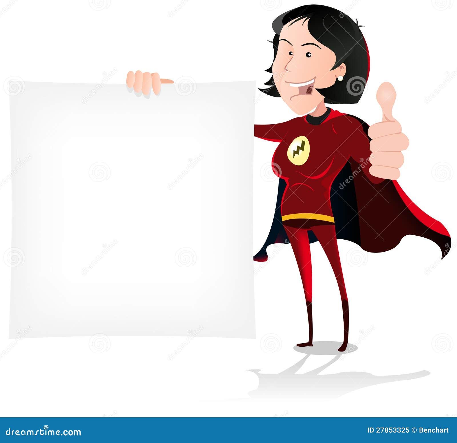 Super dziewczyna bohater Trzyma bielu znaka
