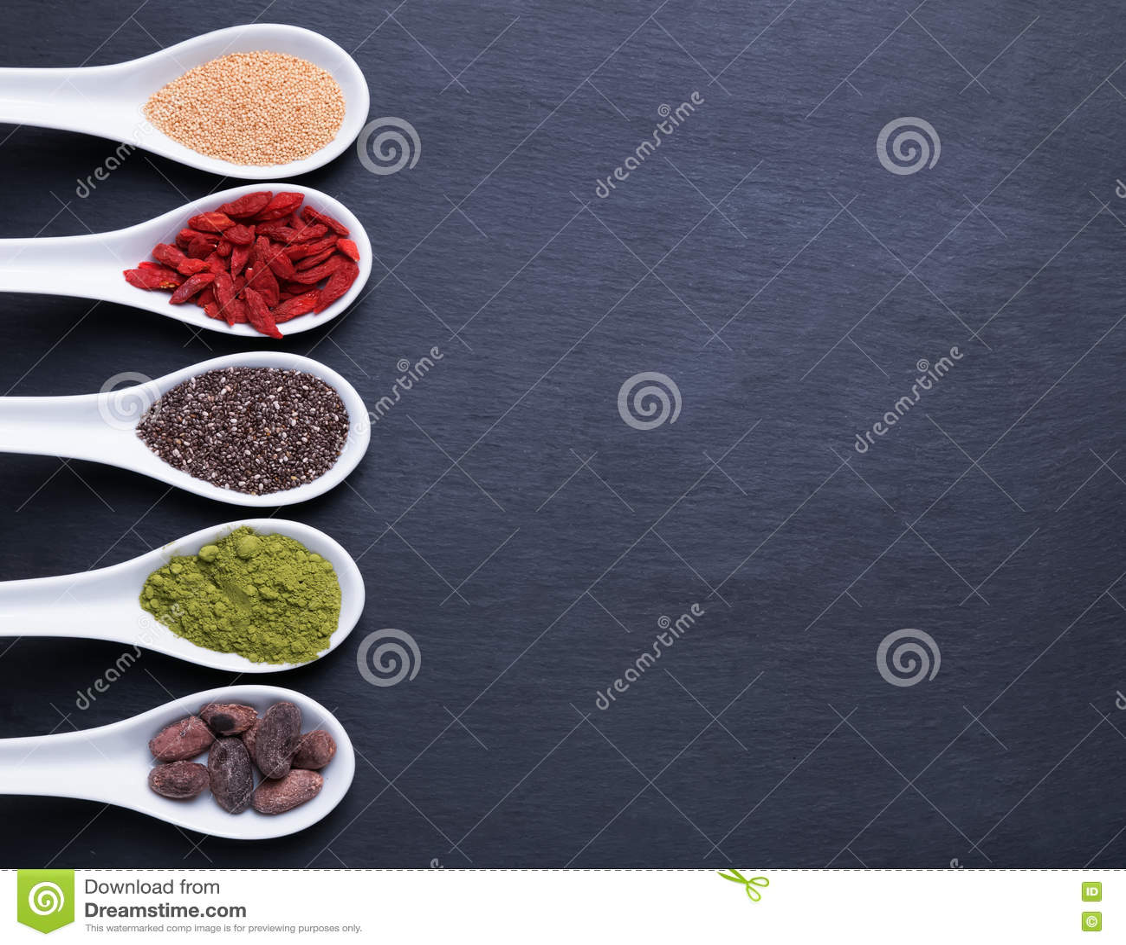 Super foods in spoons