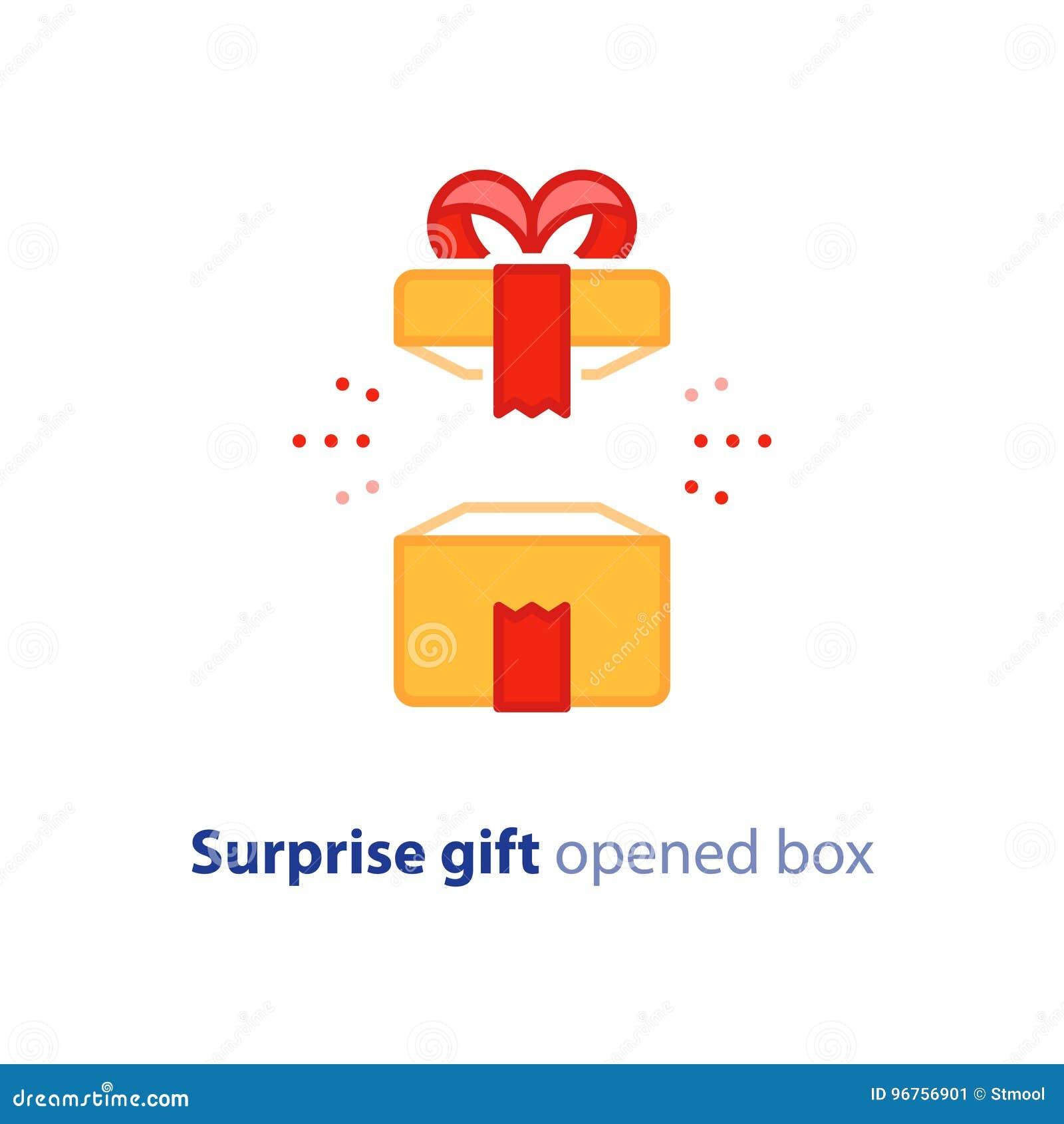 Super Gift Verbazend Heden Het Verrassen Geopende Doos Gelukkige