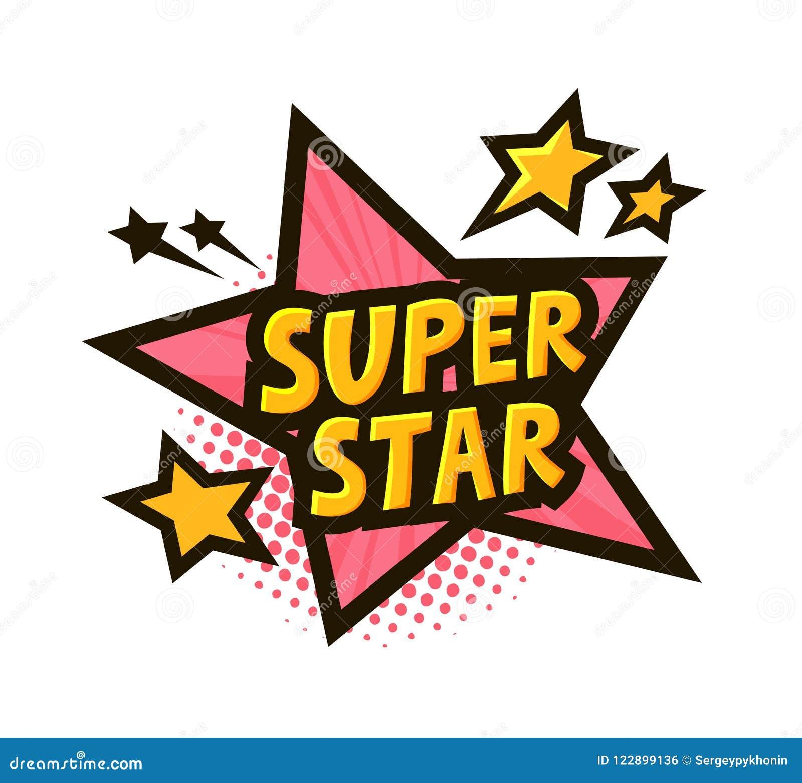 Super gwiazda, sztandar lub majcher, Wektorowa ilustracja w stylowej komicznej wystrzał sztuce