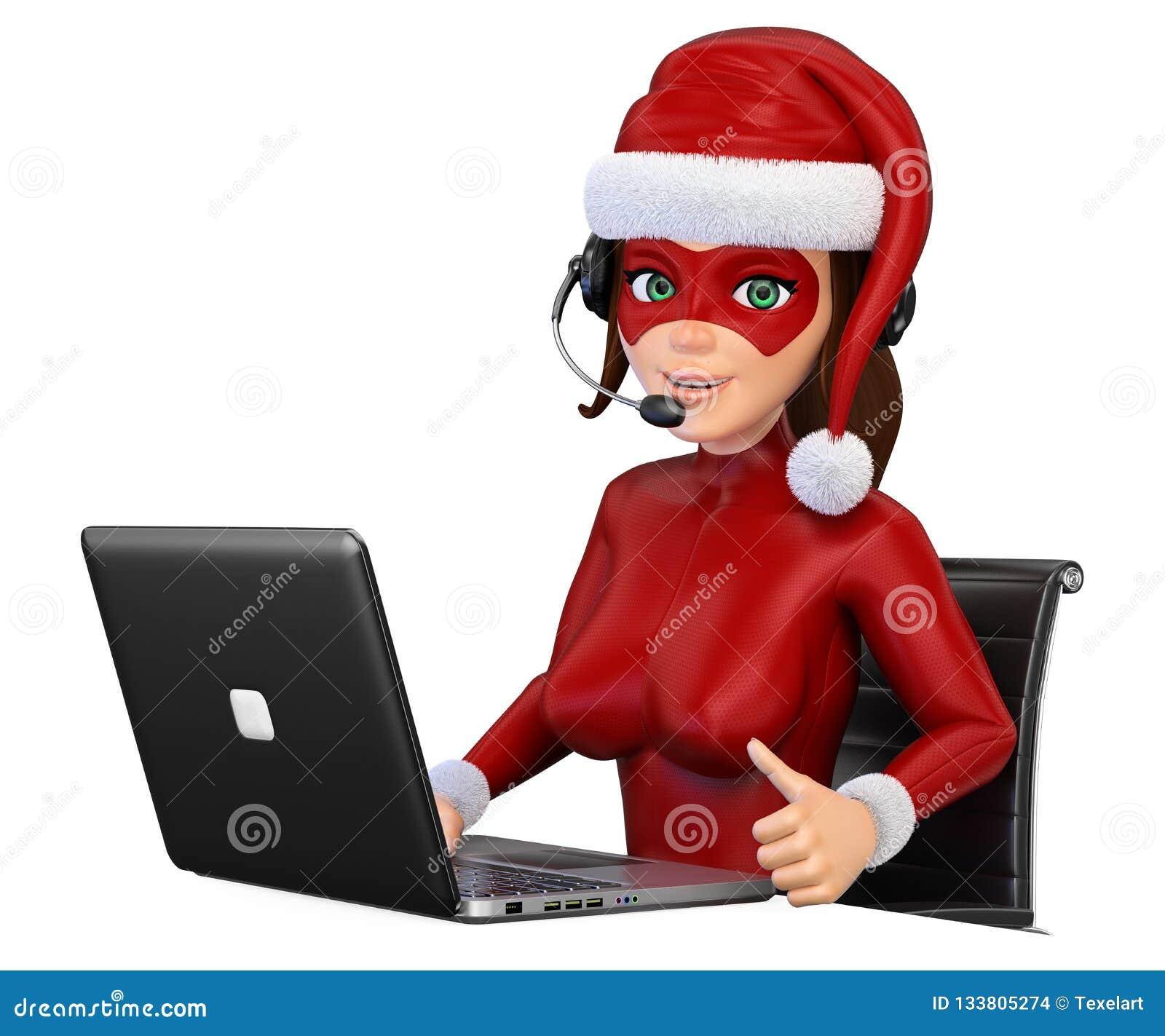 Super héroe de la Navidad de la mujer 3D con los auriculares y el ordenador portátil