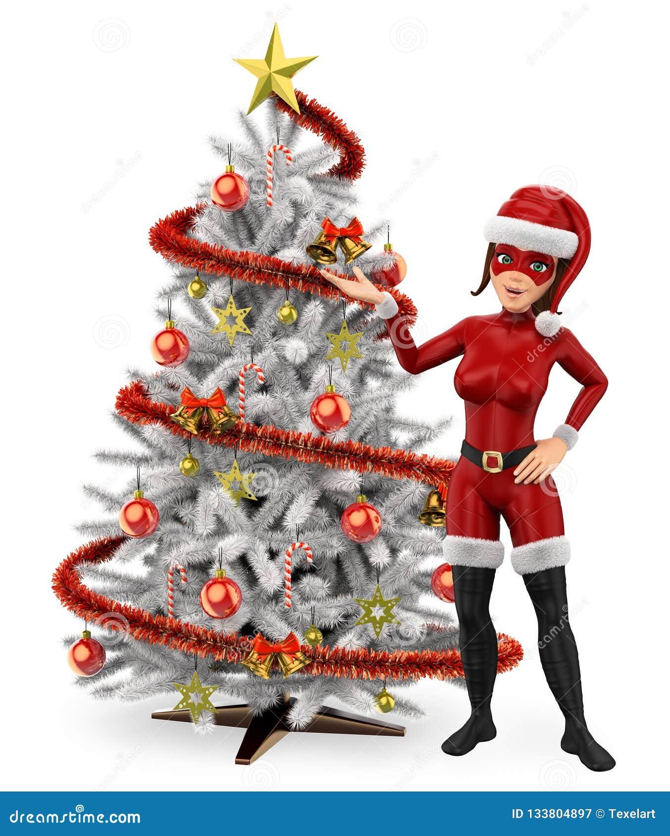 Super héroe de la Navidad de la mujer 3D con un árbol de navidad blanco