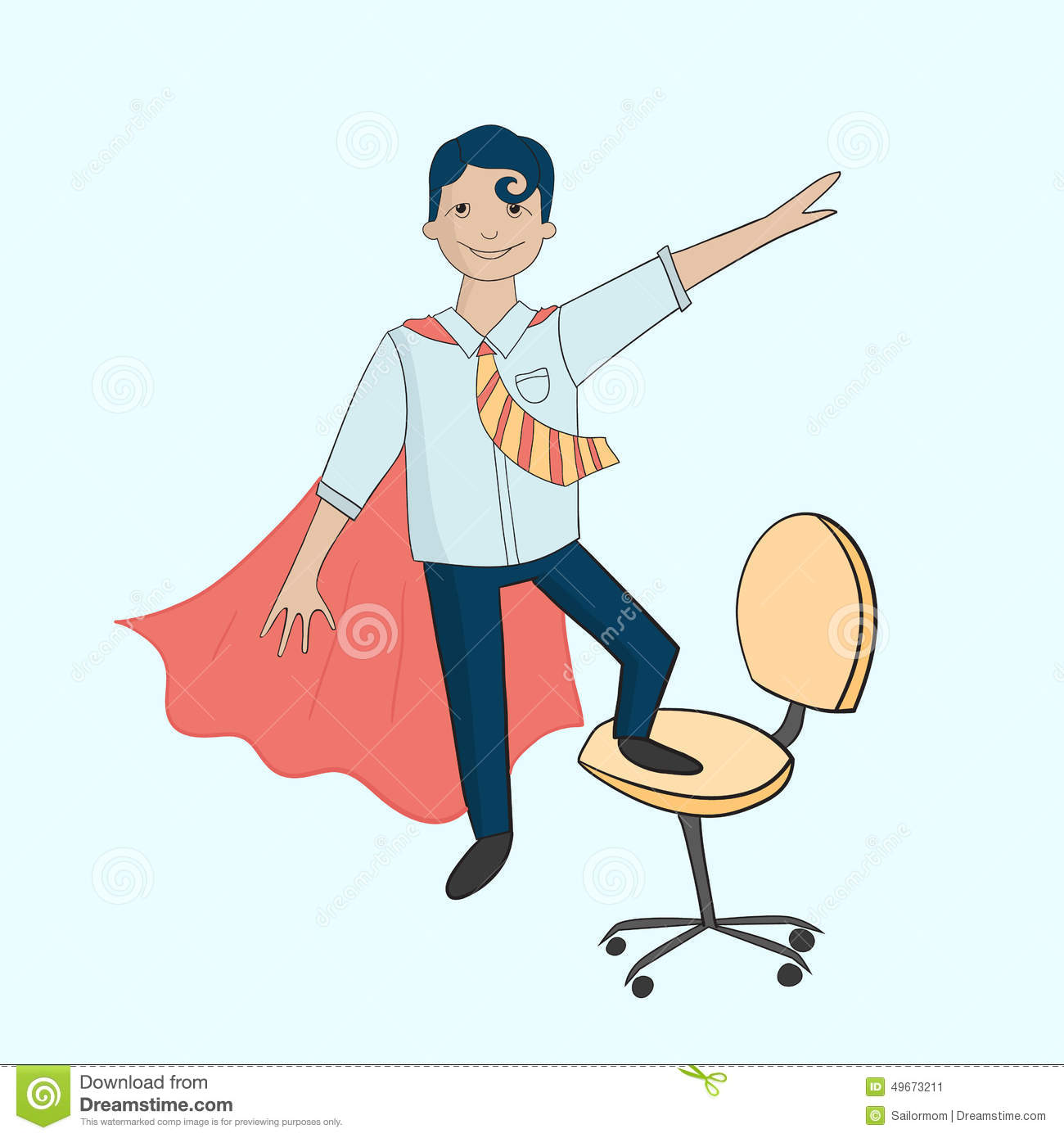 Super Heros De Bureau Sur La Chaise Illustration De Vecteur