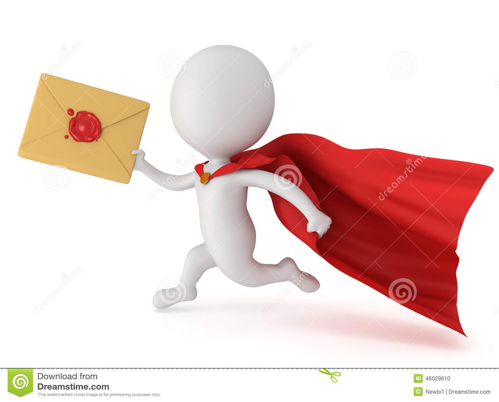 Image Courrier super héros de l'homme 3d et enveloppe courageux de courrier