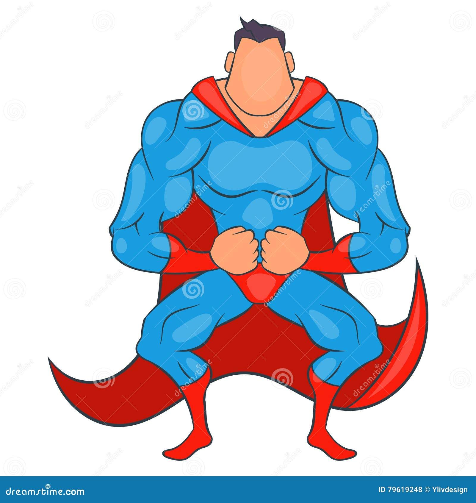 Super-herói pronto para voar o ícone, estilo dos desenhos animados