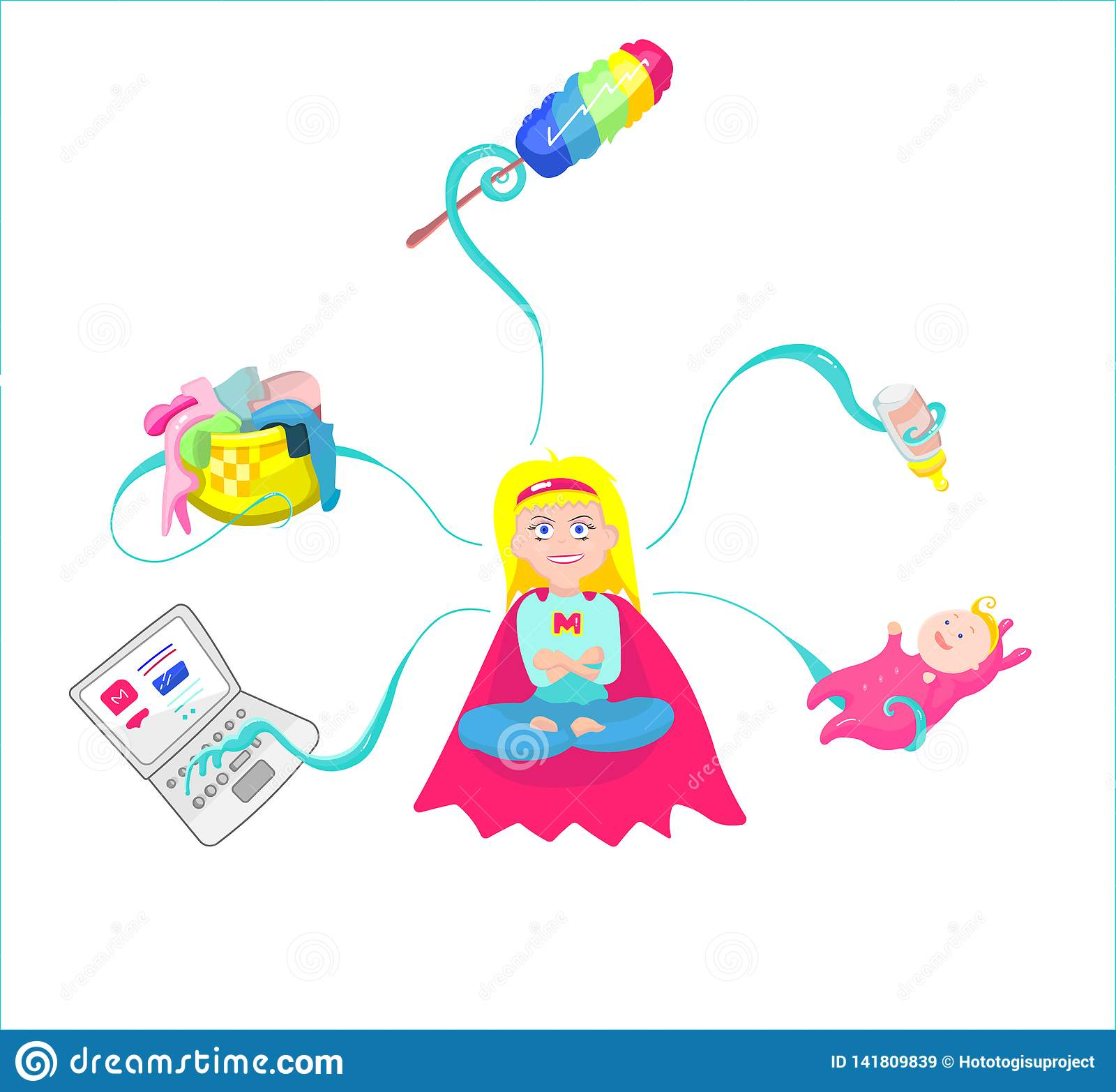 Super Mom - mother with baby, working, etc