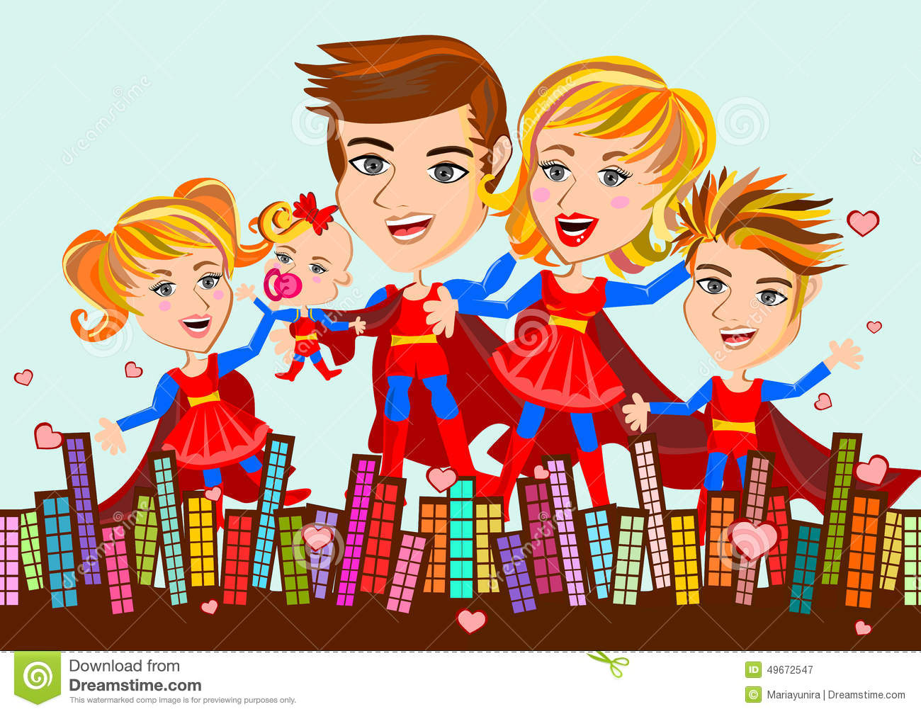 Superhero Family stock illustration. Illustration of sister - 49672547