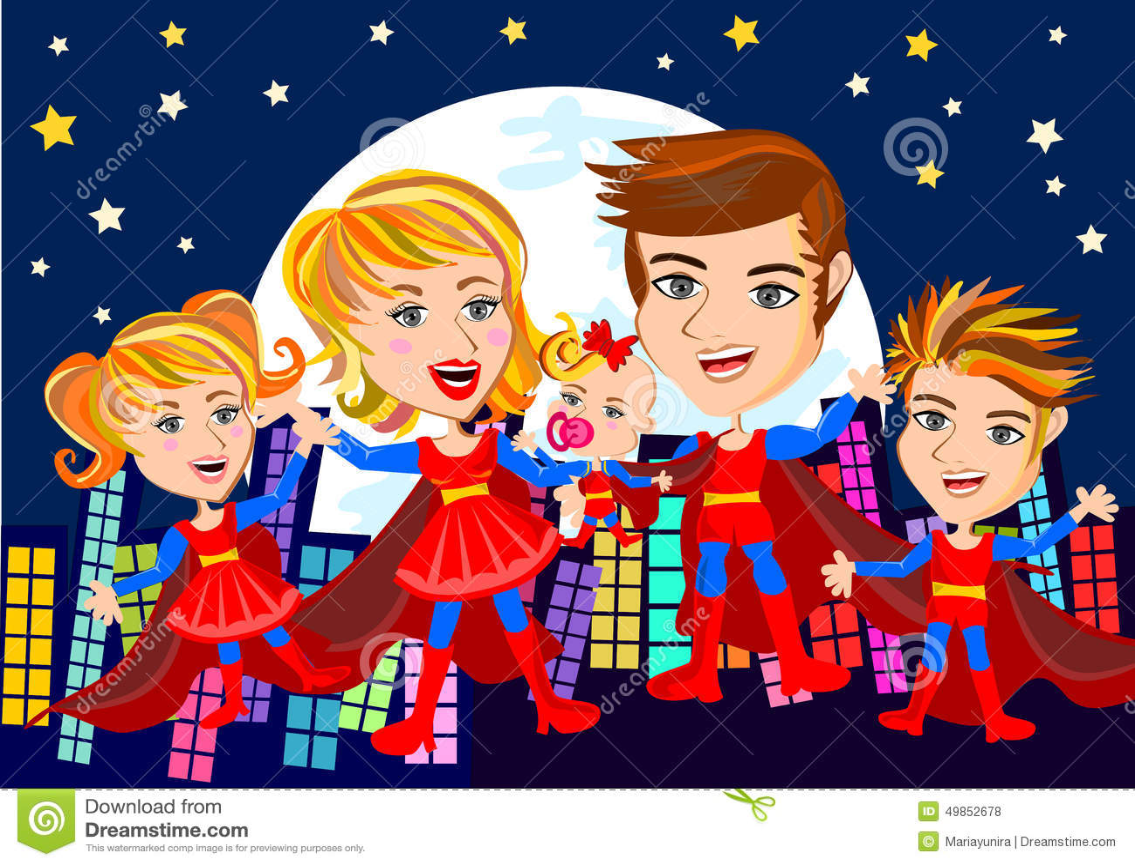 Superhero Family stock illustration. Illustration of parents - 49852678