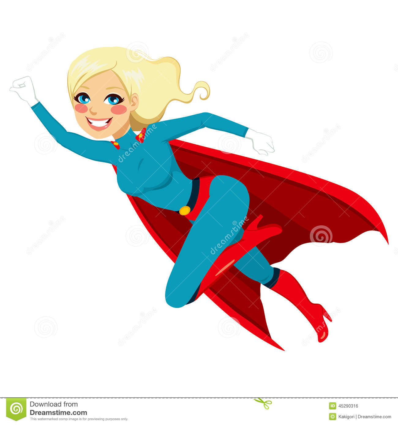 Blonde super hero girl flying fast in blue and red costume with cape.