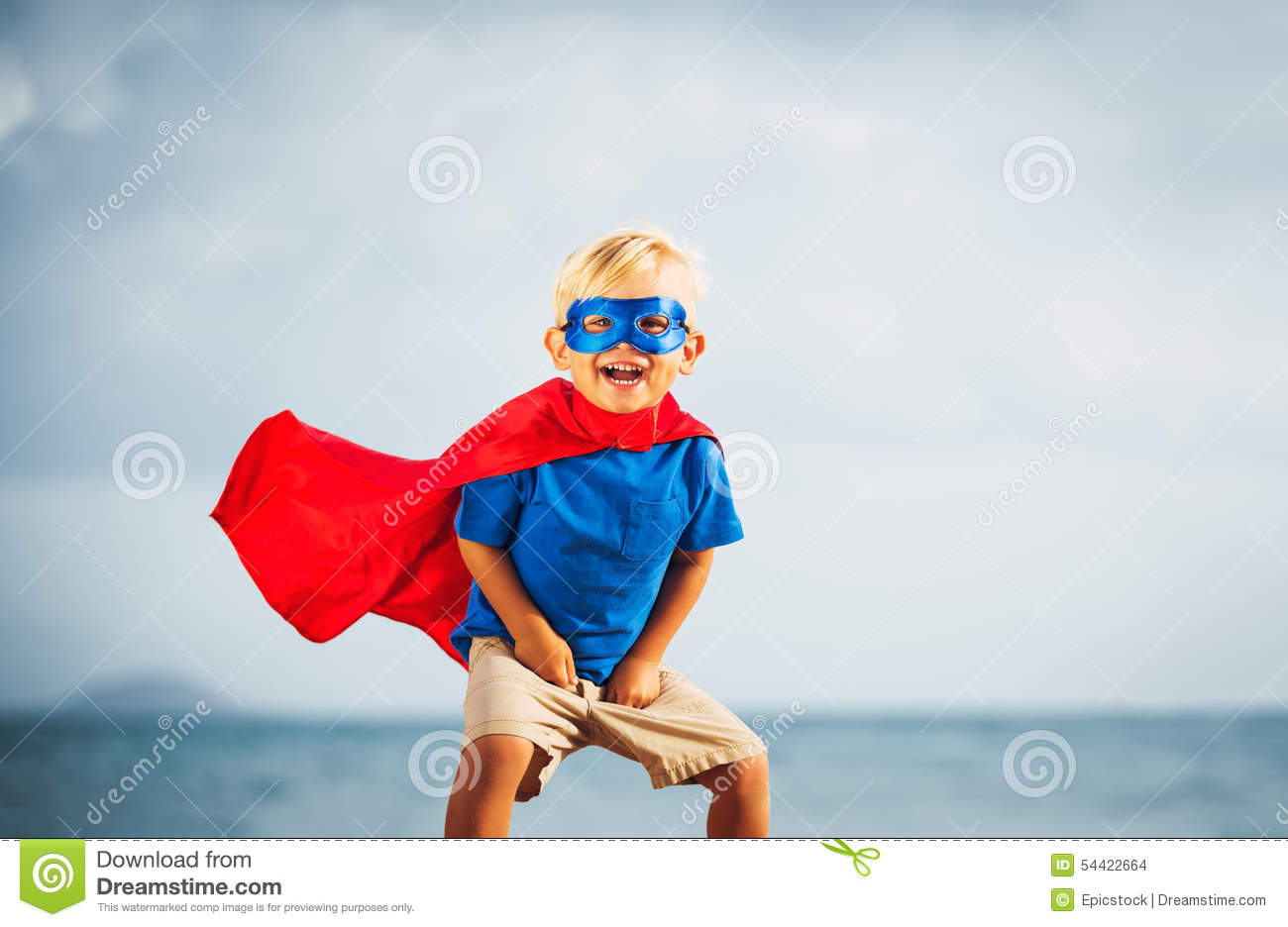 Super Hero Kid With A Mask Flying Stock Photo - Image of leader ...