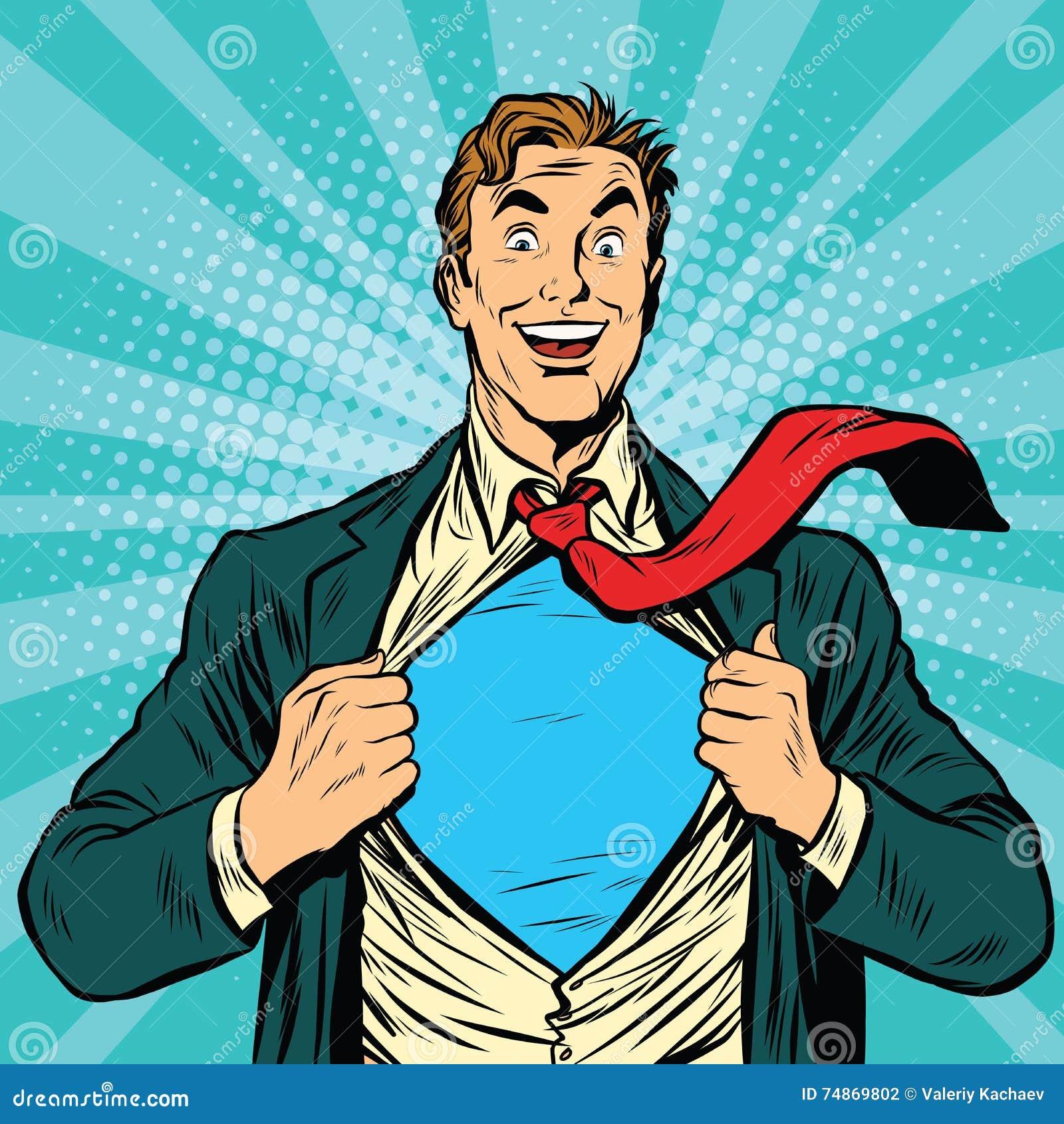 Retro Superhero Art: Super Hero Male Businessman Stock Vector