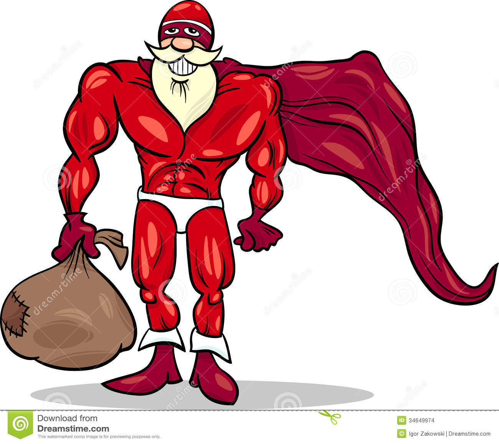 Super Hero Santa Cartoon Illustration Stock Vector - Illustration of ...