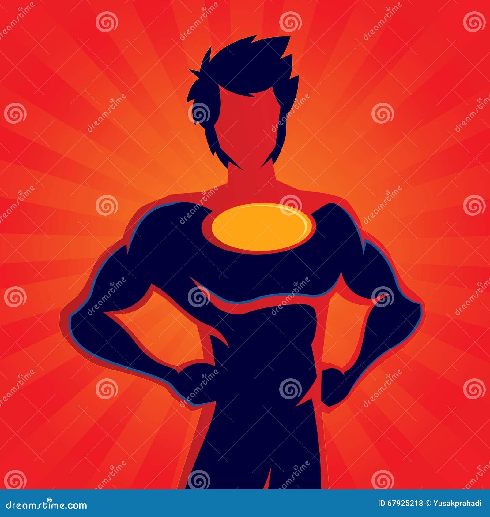 super hero silhouette cartoon vector