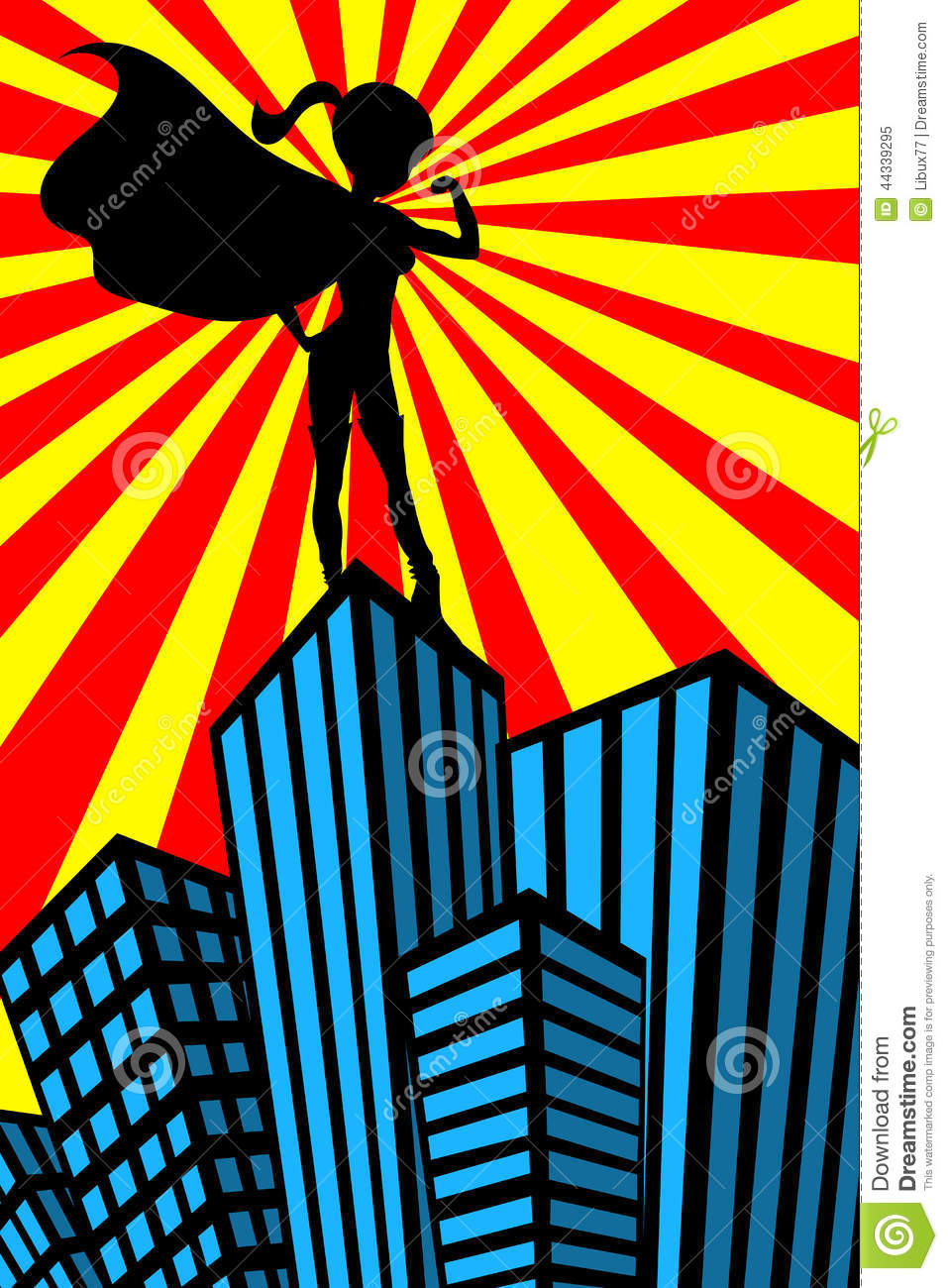 super hero woman muscles silhouette skyscrapers stock vector