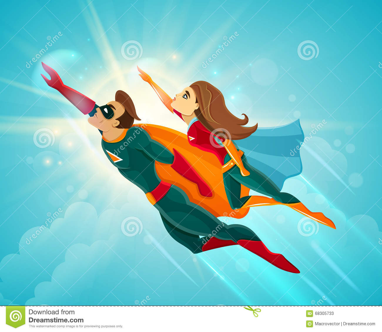 super heroes couple flying stock vector image 68305733 super bowl clip art free to download superbowl clip art 2017