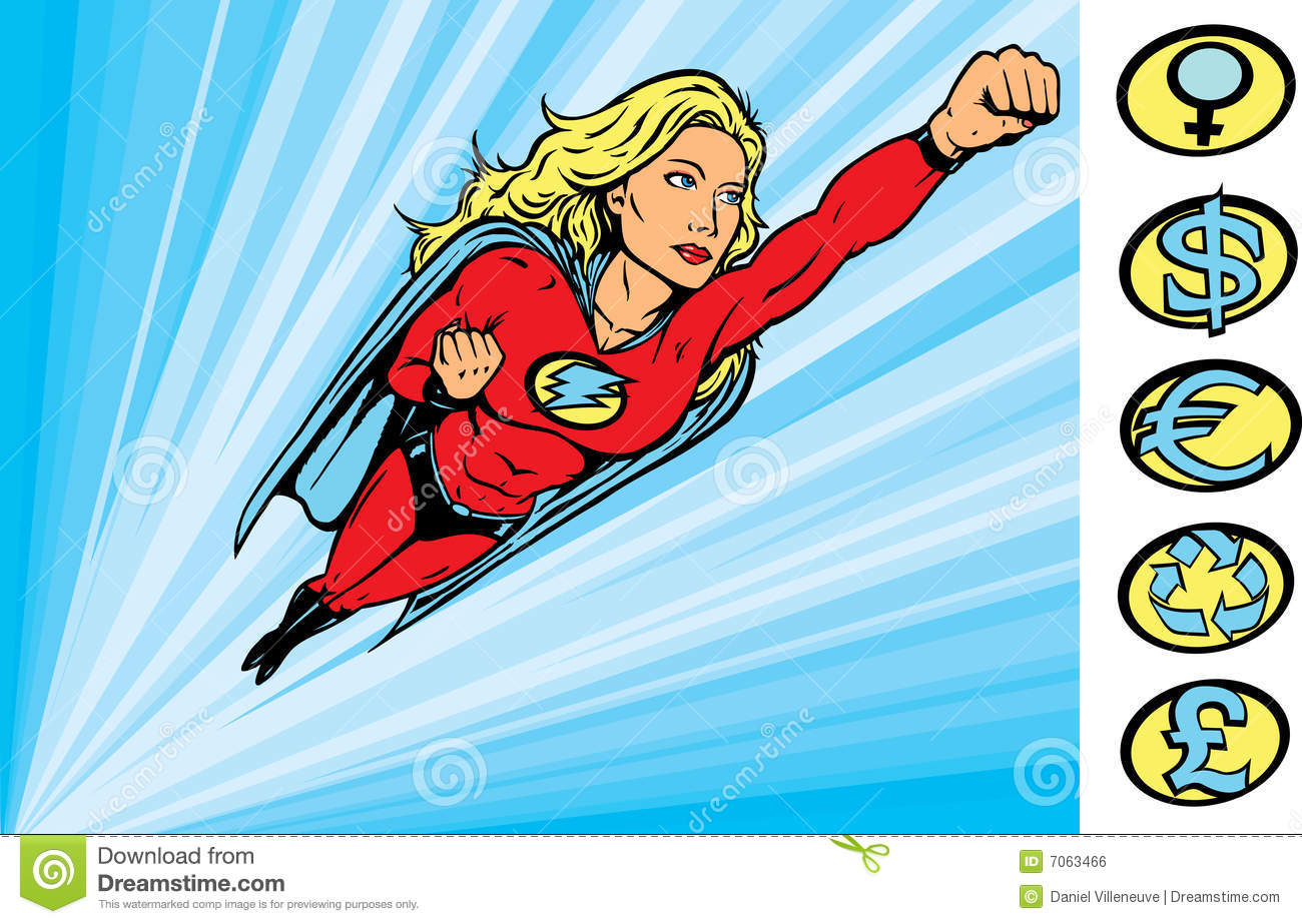 super heroine flying into action stock vector