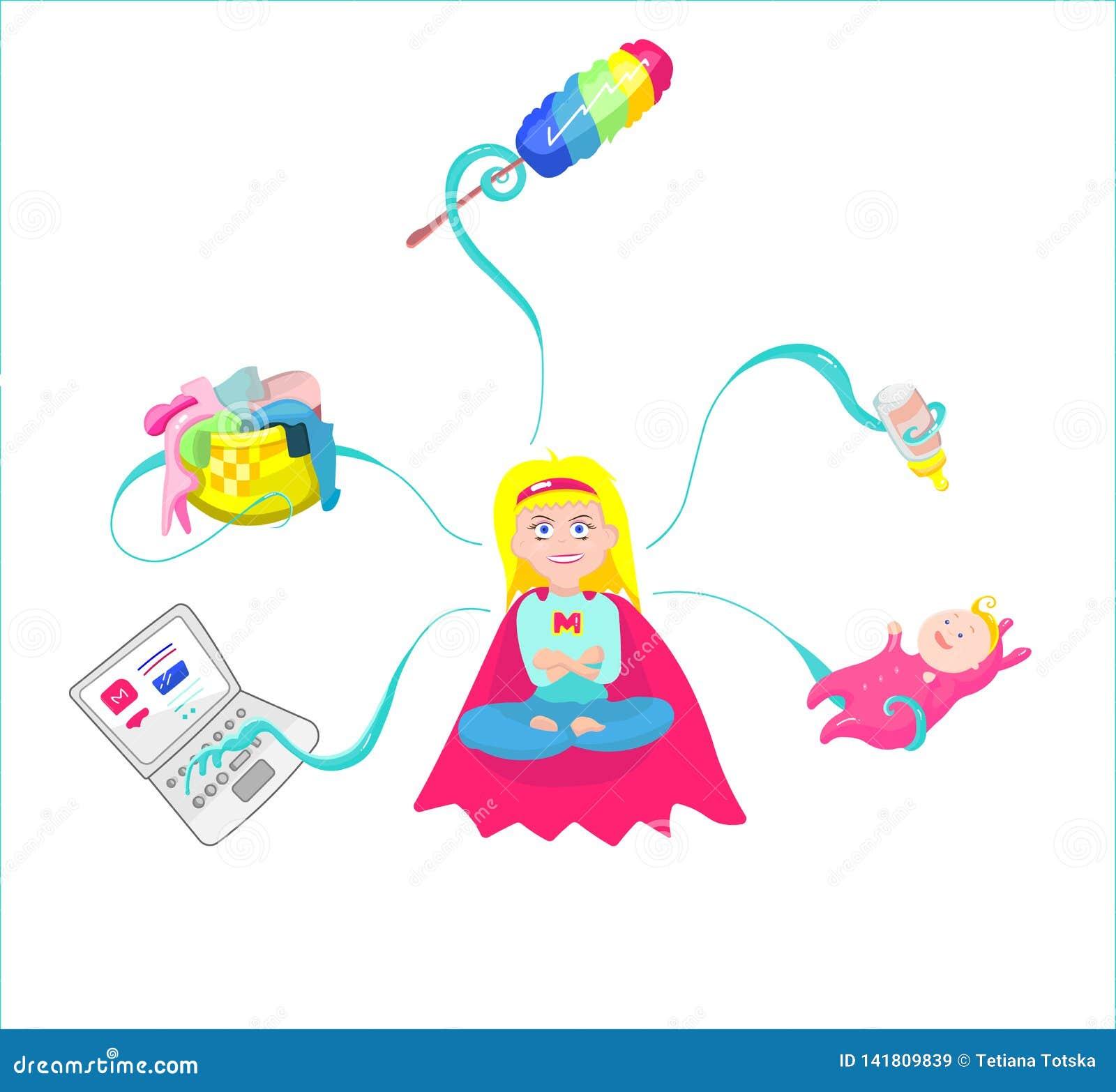 Super mama - matka z dzieckiem, działaniem, etc,
