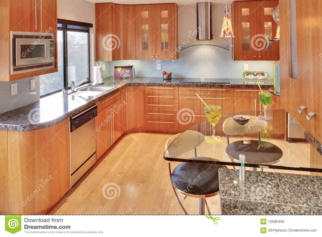 Super modern contemporary kitchen royalty free stock - Cuisine bois clair moderne ...