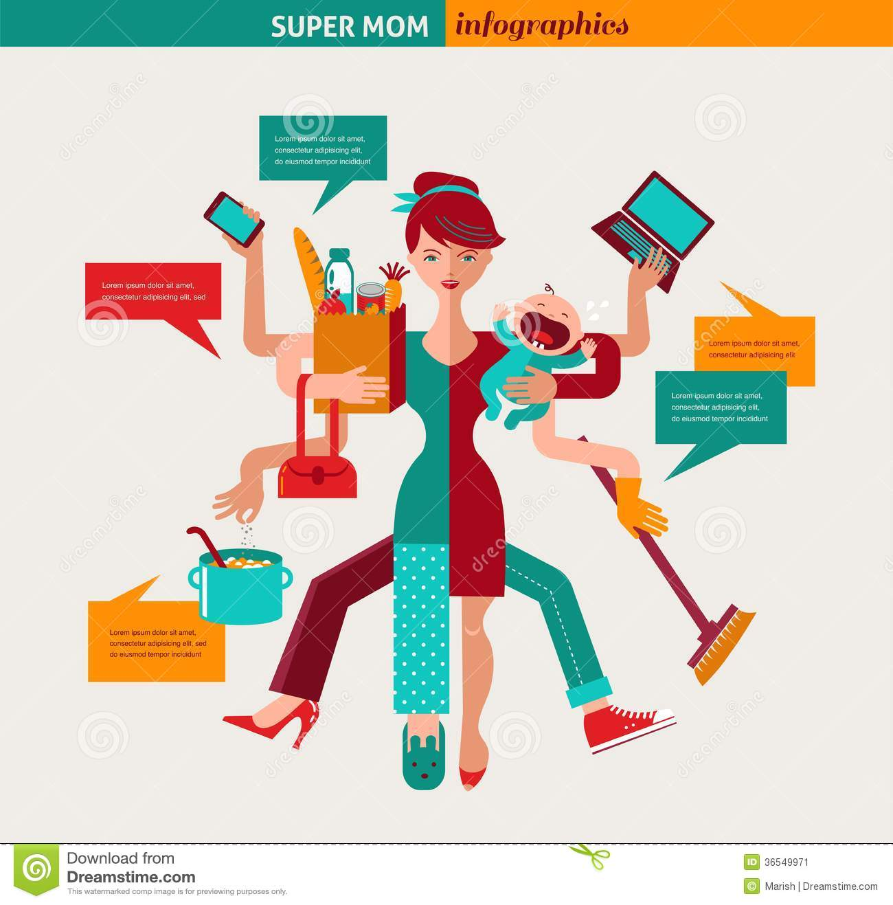 Super Mom - mother with baby, working, coocking, cleaning and make a