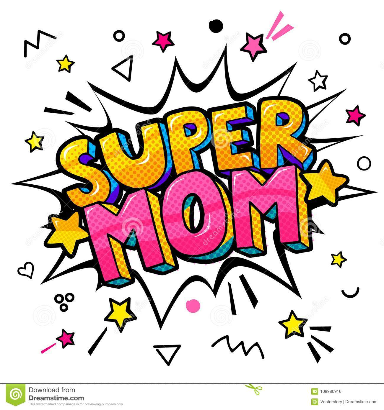 Super Mom In Pop Art Style For Happy Mother S Day Celebration  Stock