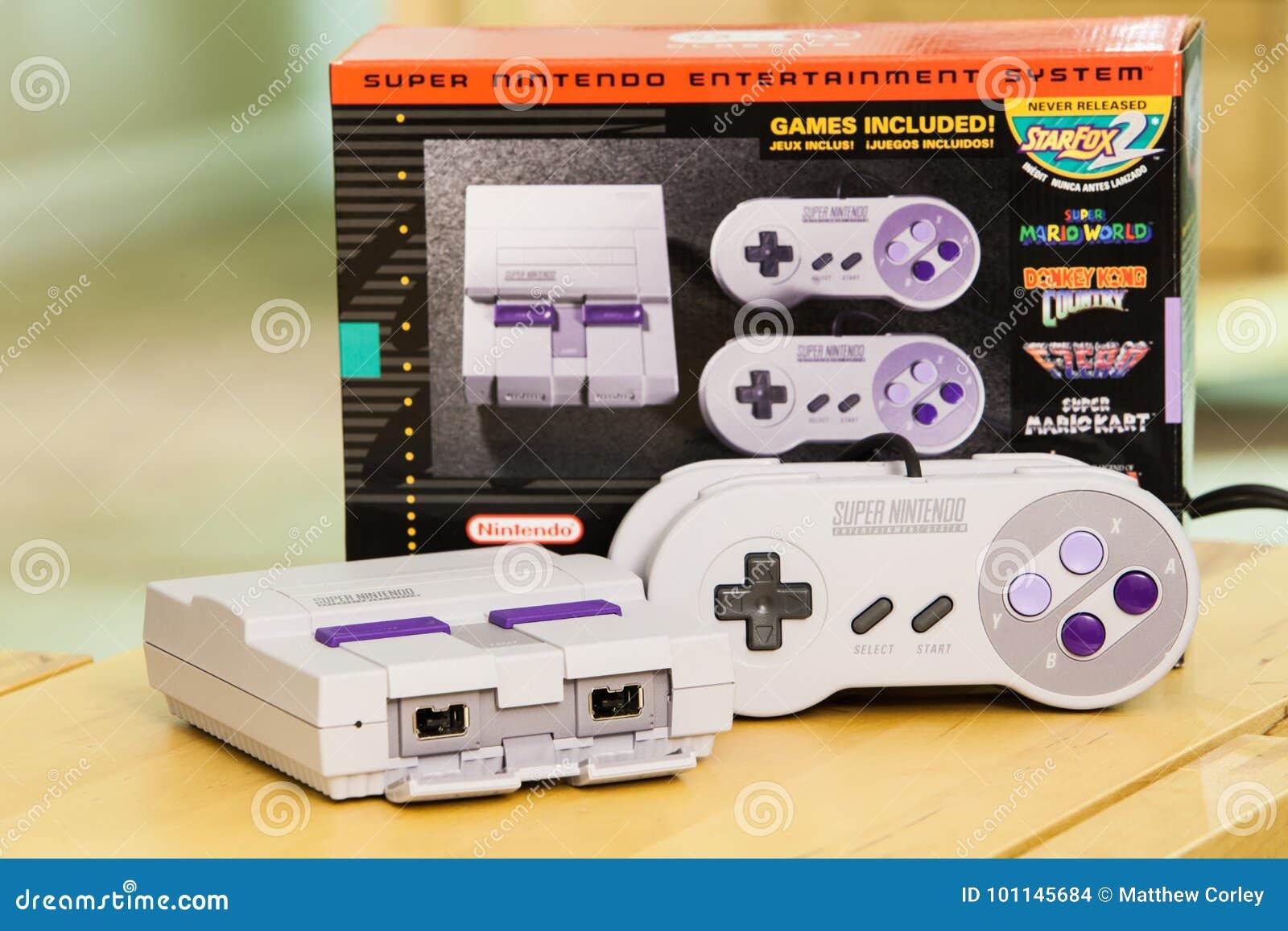 Super Nintendo Classic Edition Console And Box Editorial Stock Image