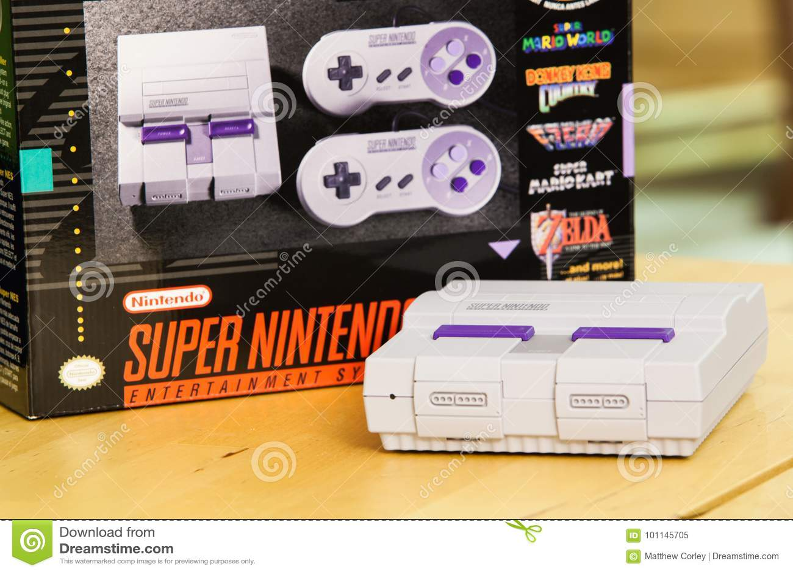 Super Nintendo Classic Edition Console And Box Editorial Image