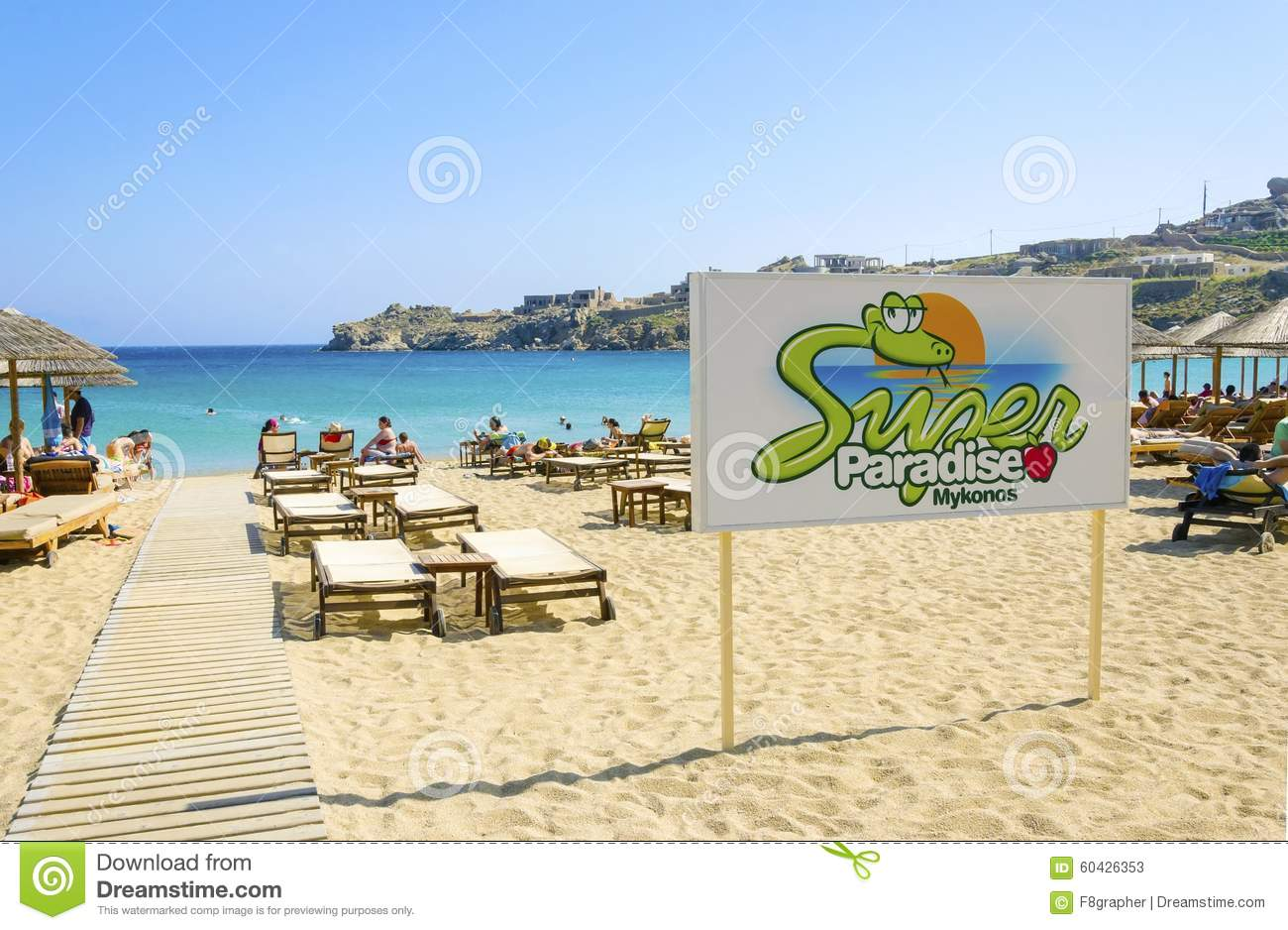 Best Island Beaches For Partying Mykonos St Barts: Super Paradise Beach, Mykonos, Greece Editorial Stock