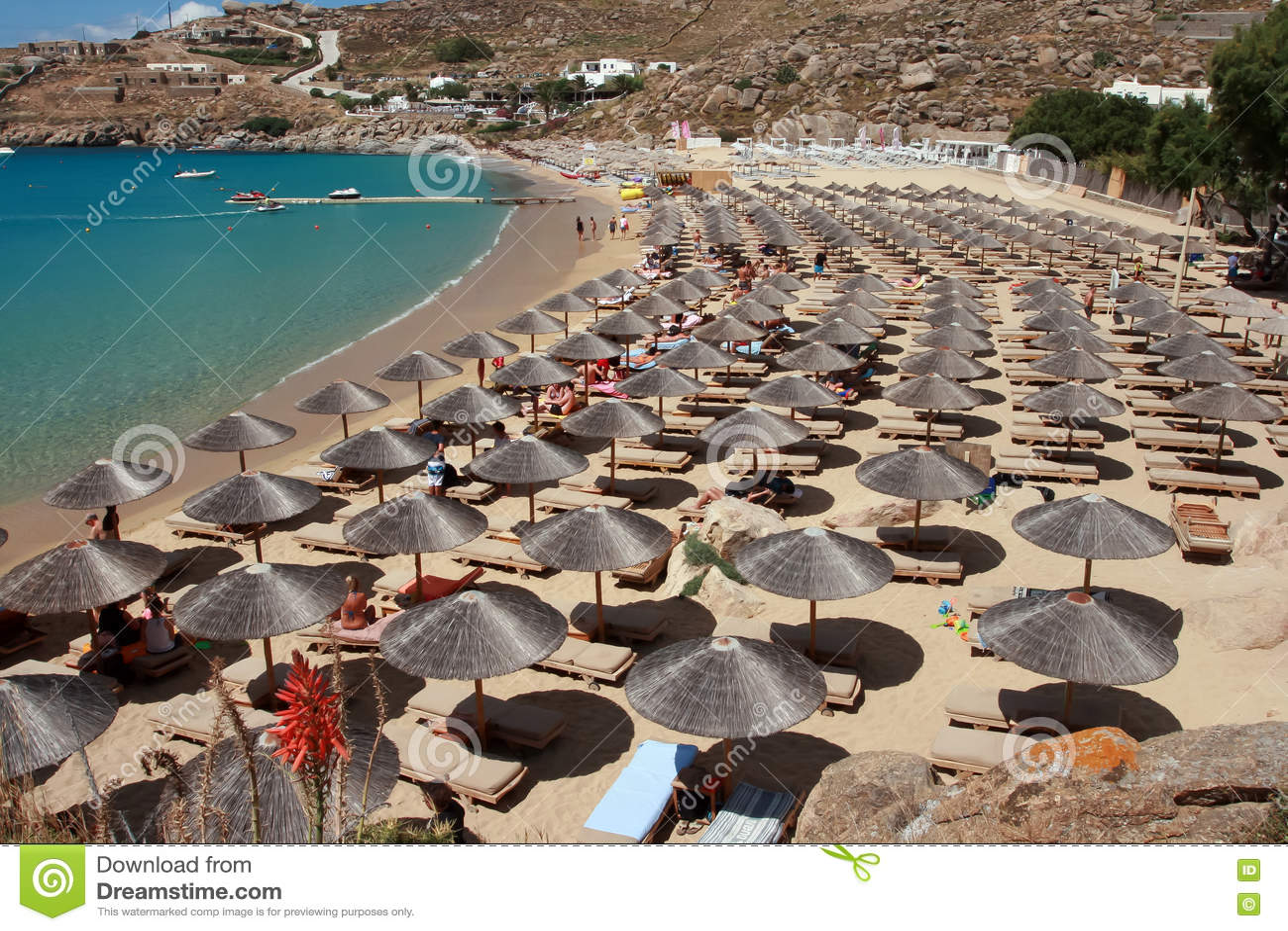 Super Paradise Beach Mykonos Island Greece Editorial Image