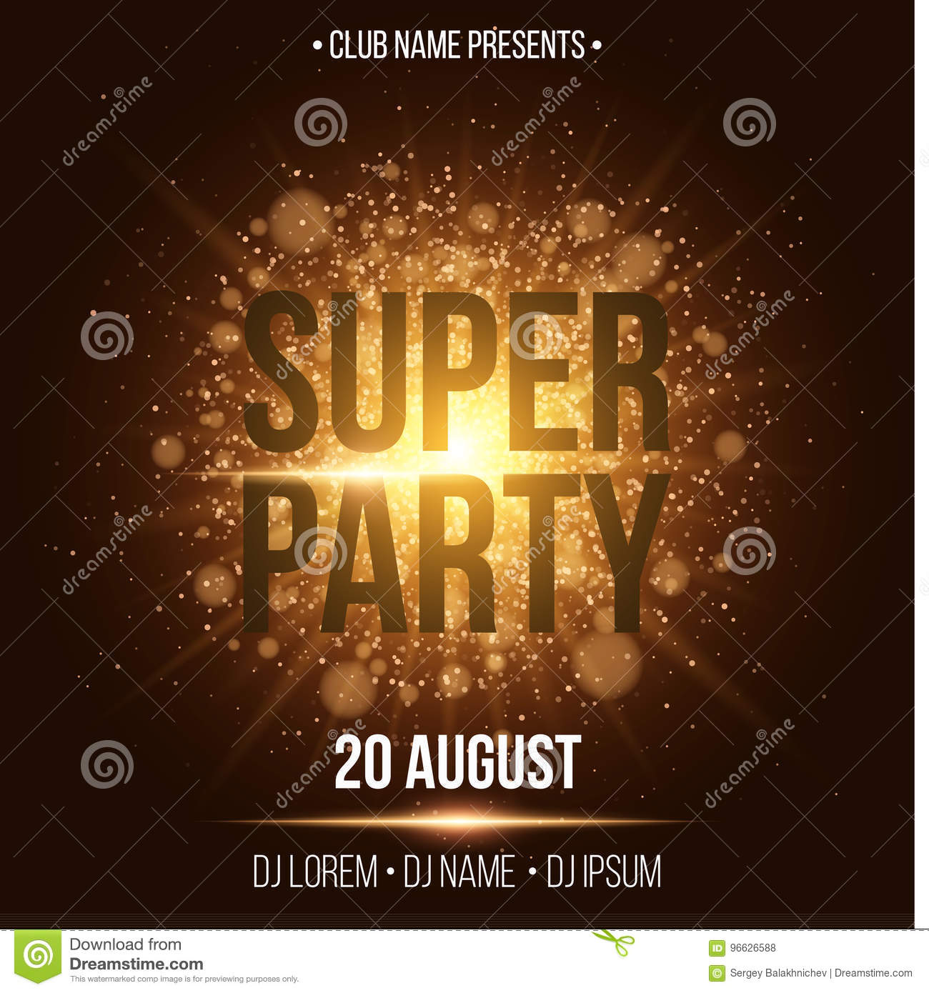 A golden flash with gold dust. Night party. Enter your DJ and club name.  Poster for your project. Gold glare bokeh. Vector illustration c989447a3