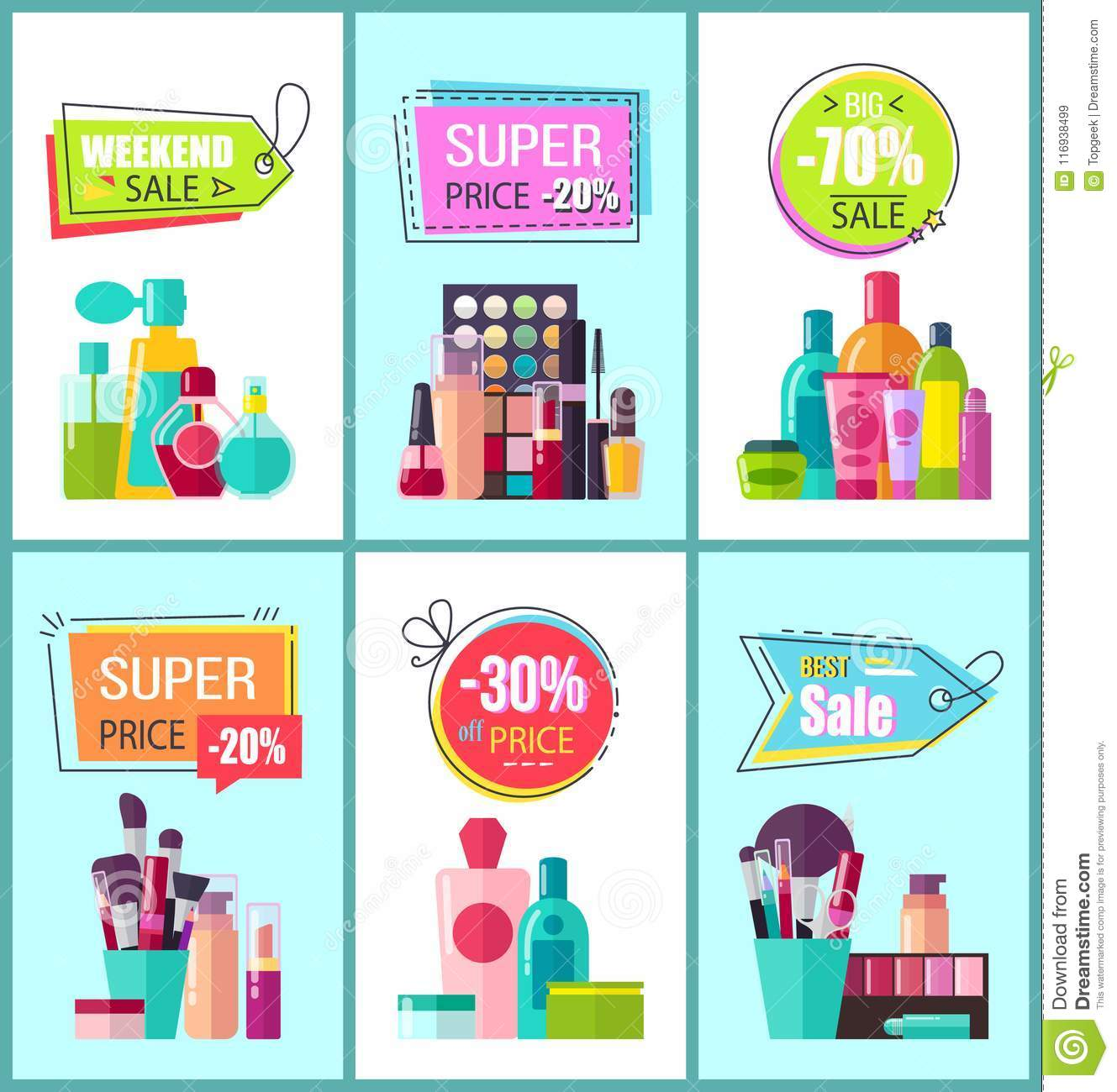 super price for decorative and medical cosmetics stock vector