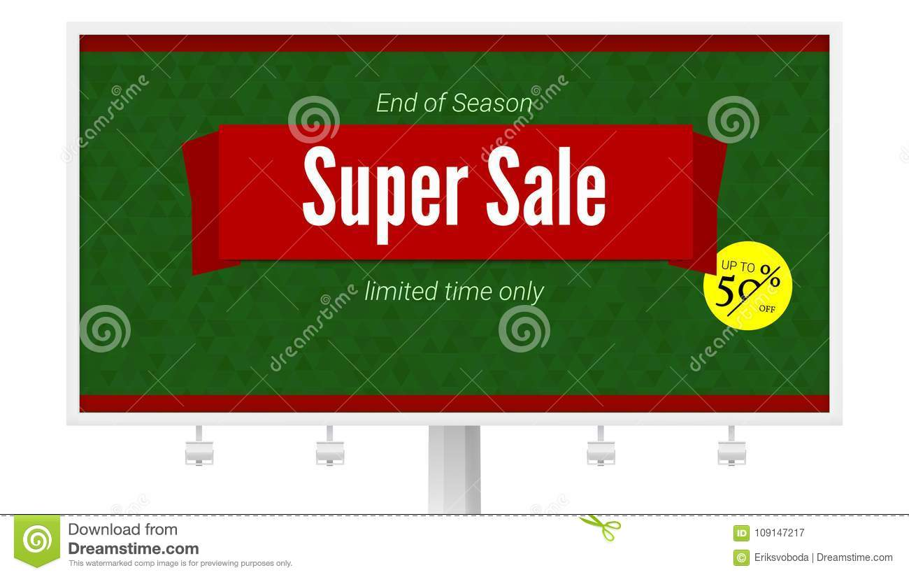 Super Sale Ad With Fifty Percent Discount On White Billboard Horizontal Poster For Advertising Events Of Holiday Sales Stock Vector Illustration Of Background Card 109147217
