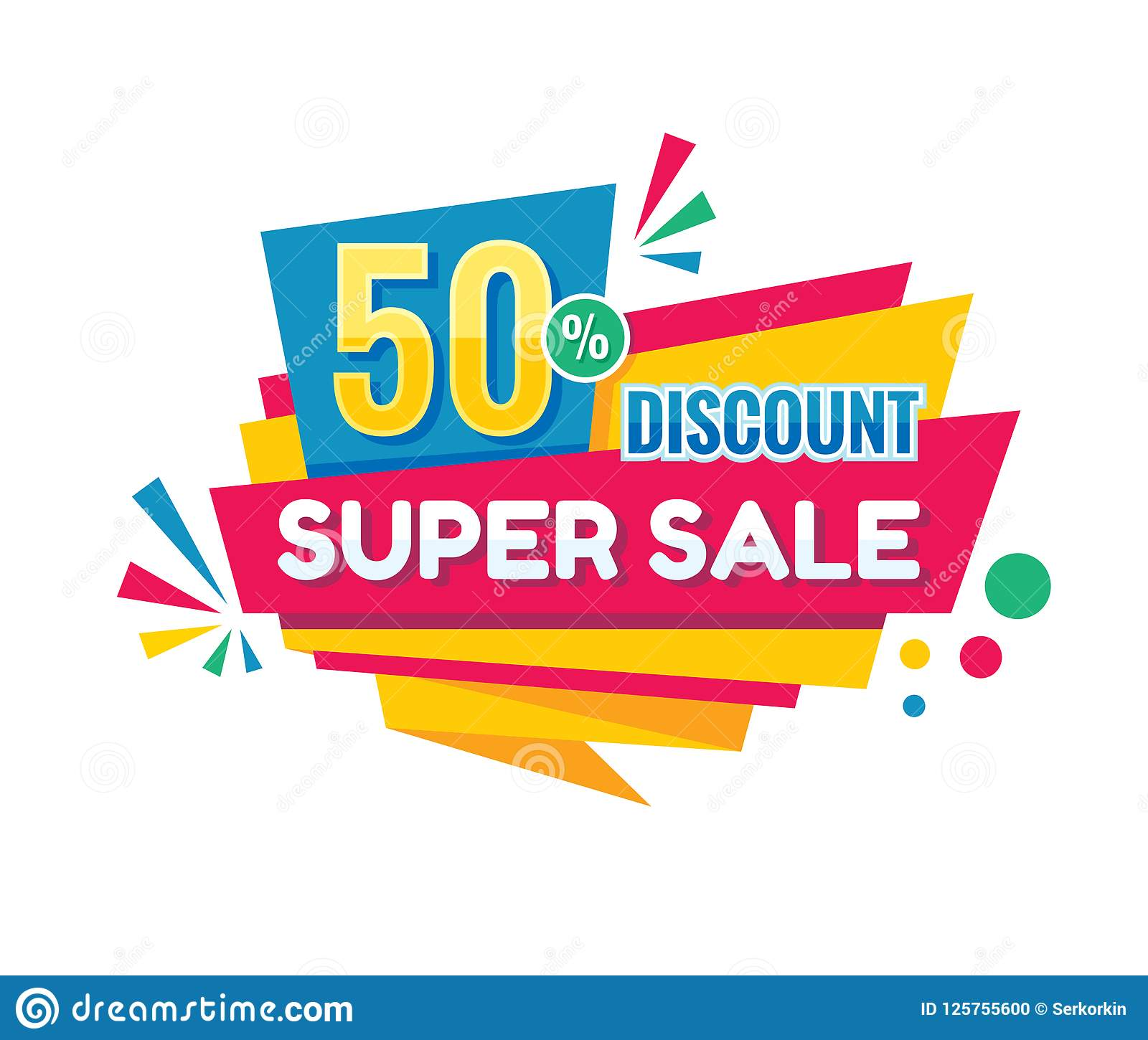 Super sale - vector creative banner illustration. Abstract concept discount 50  promotion layout on white background. Sticker.