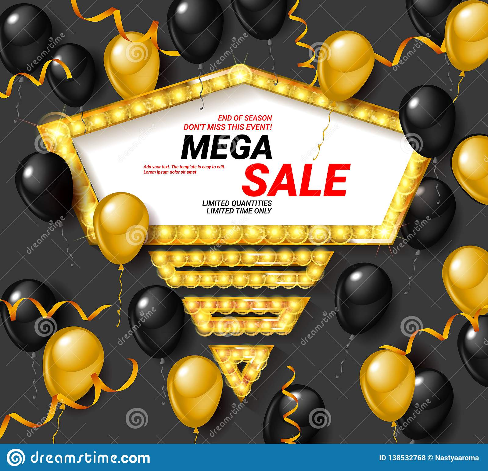 843c5c9c29d Special offer celebrate background with black and gold air balloons. Super  sale. Realistic vector stock design for shop and sale banners