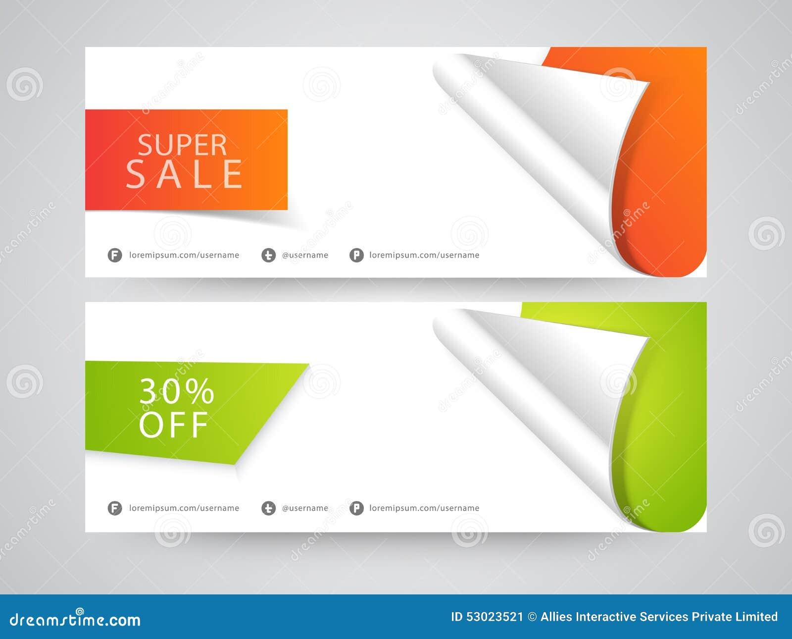 Super Sale Website Header Or Banner Set Stock