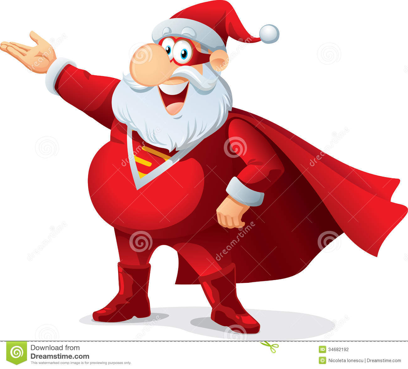 Santa Claus as a superhero, wearing a mask and cape. File type: vector ...