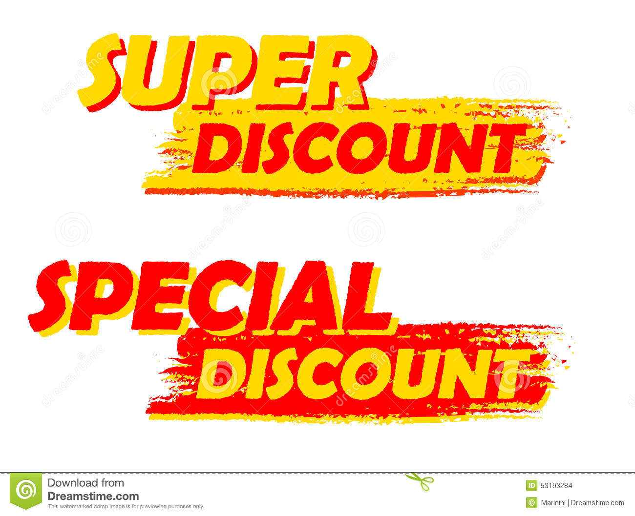 Super And Special Discount Yellow And Red Drawn Labels